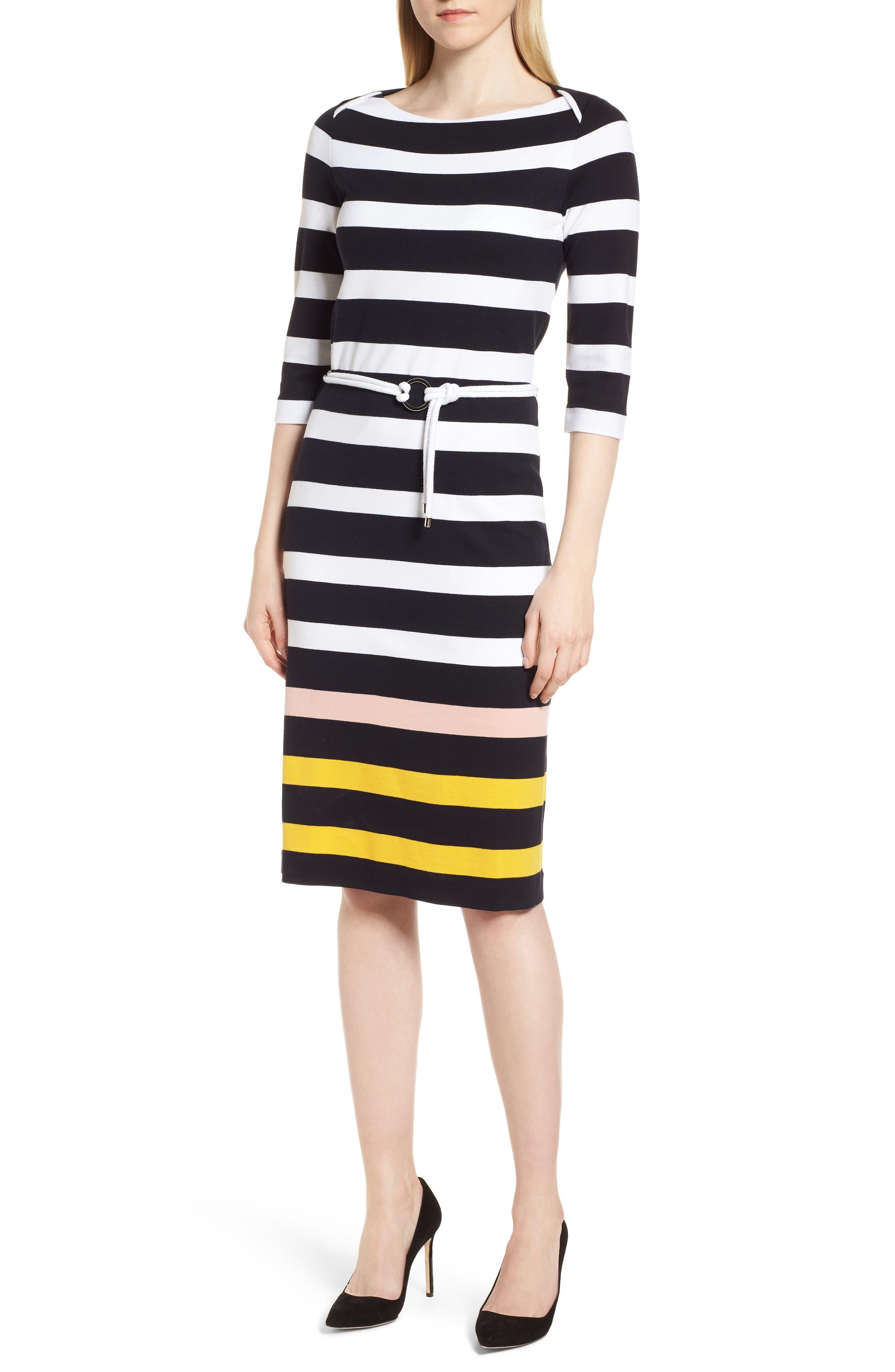 Elsara Stripe Sheath Dress,                             Main thumbnail 1, color,                             Navy Fantasy
