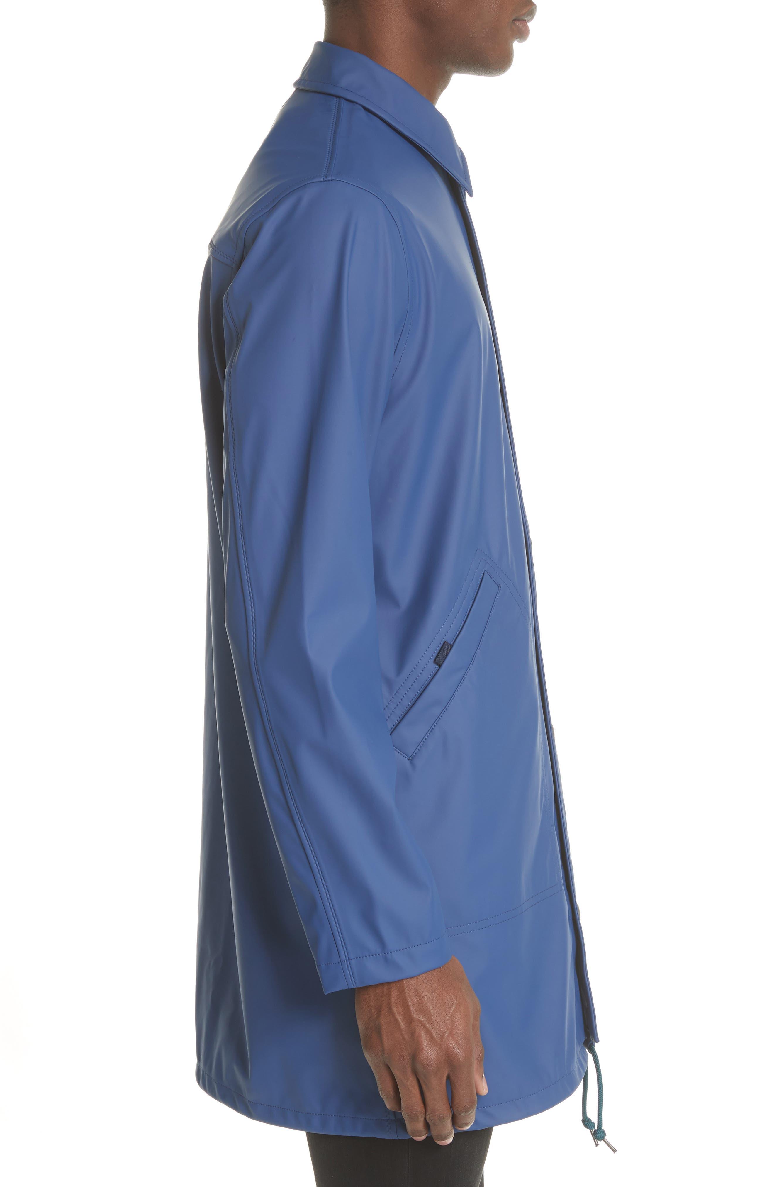 Rubberized Long Coach's Jacket,                             Alternate thumbnail 3, color,                             Navy