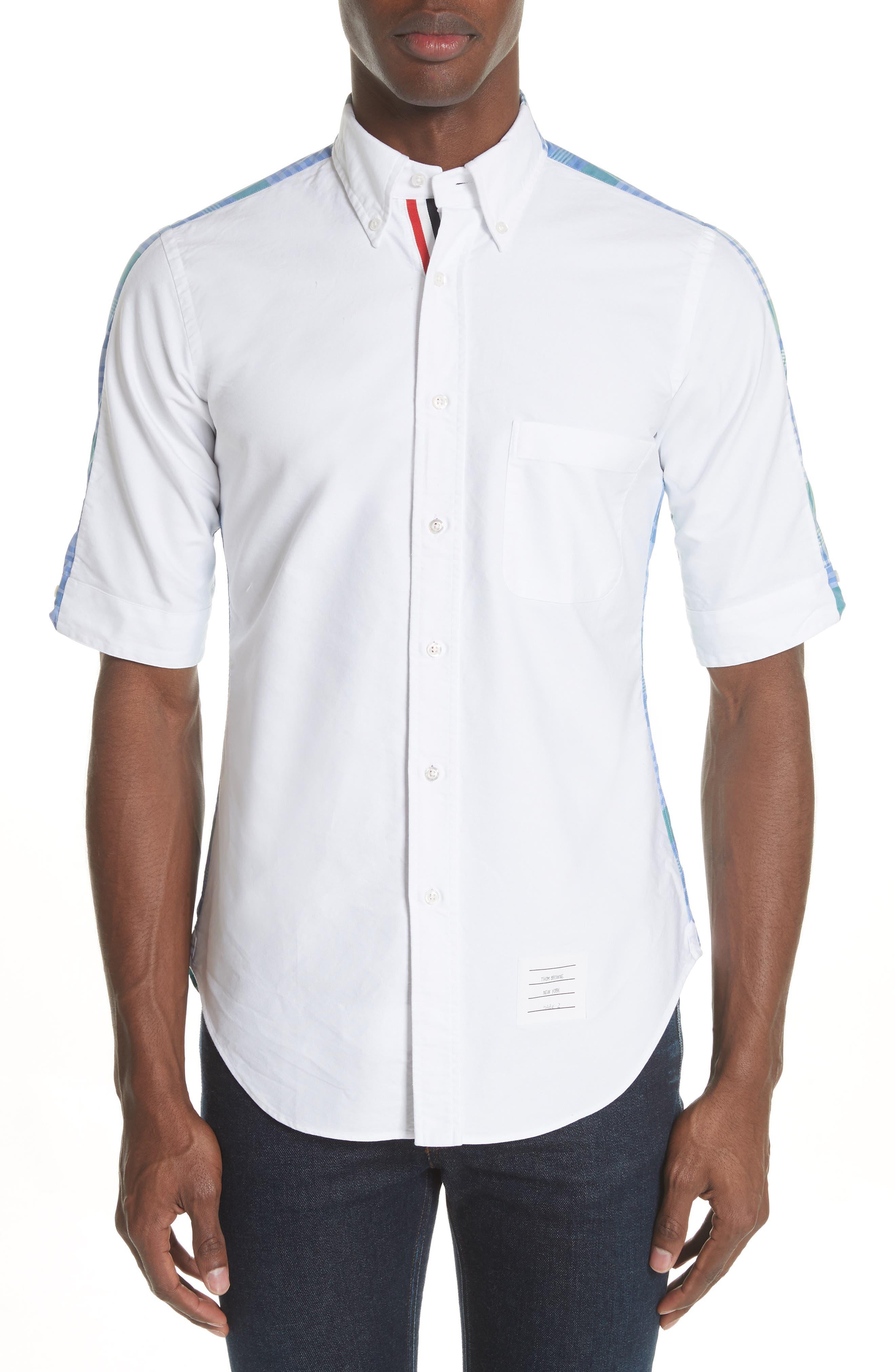 Main Image - Thom Browne Solid & Plaid Woven Shirt