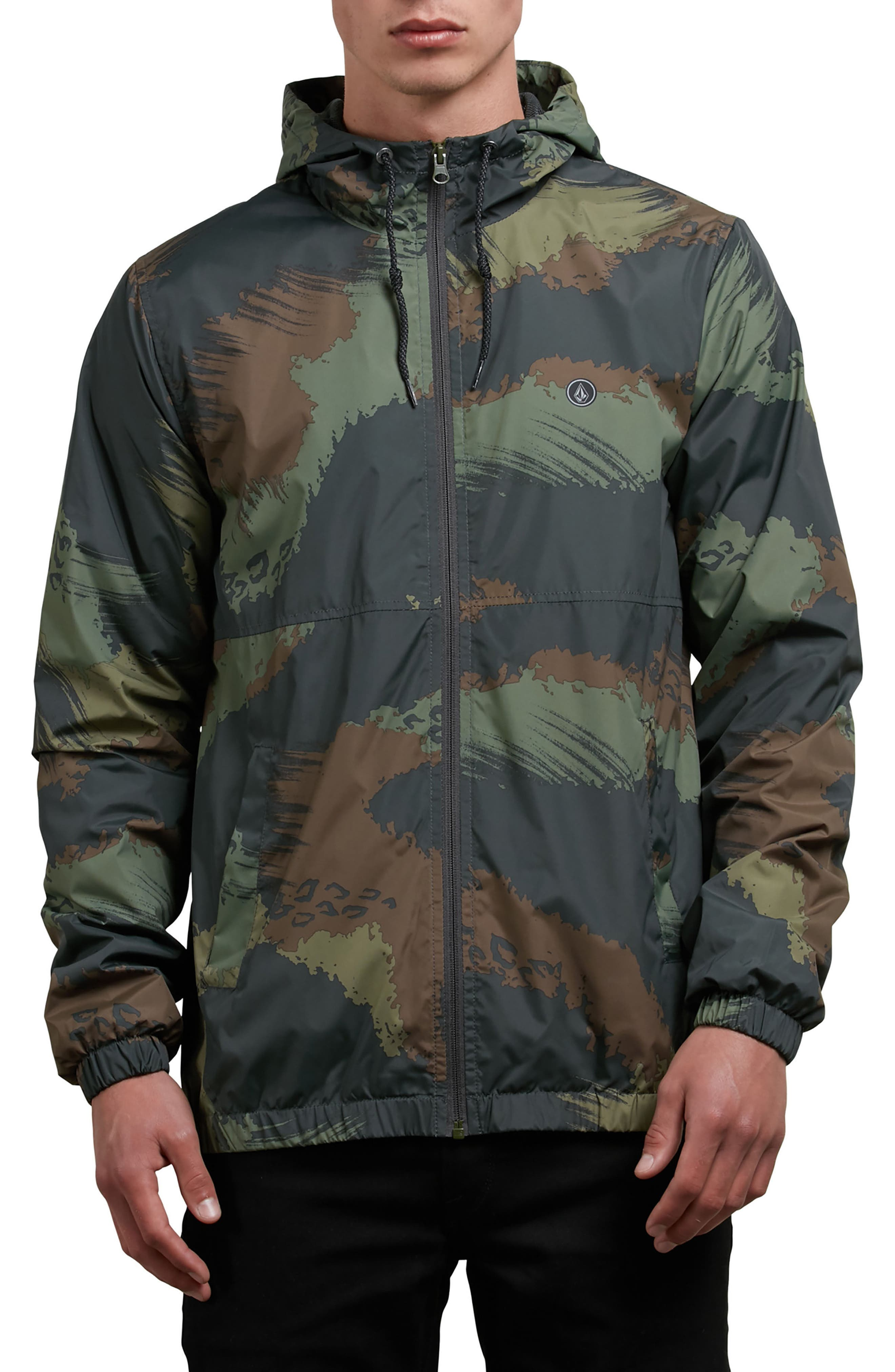 Ermont Hooded Windbreaker,                         Main,                         color, Military