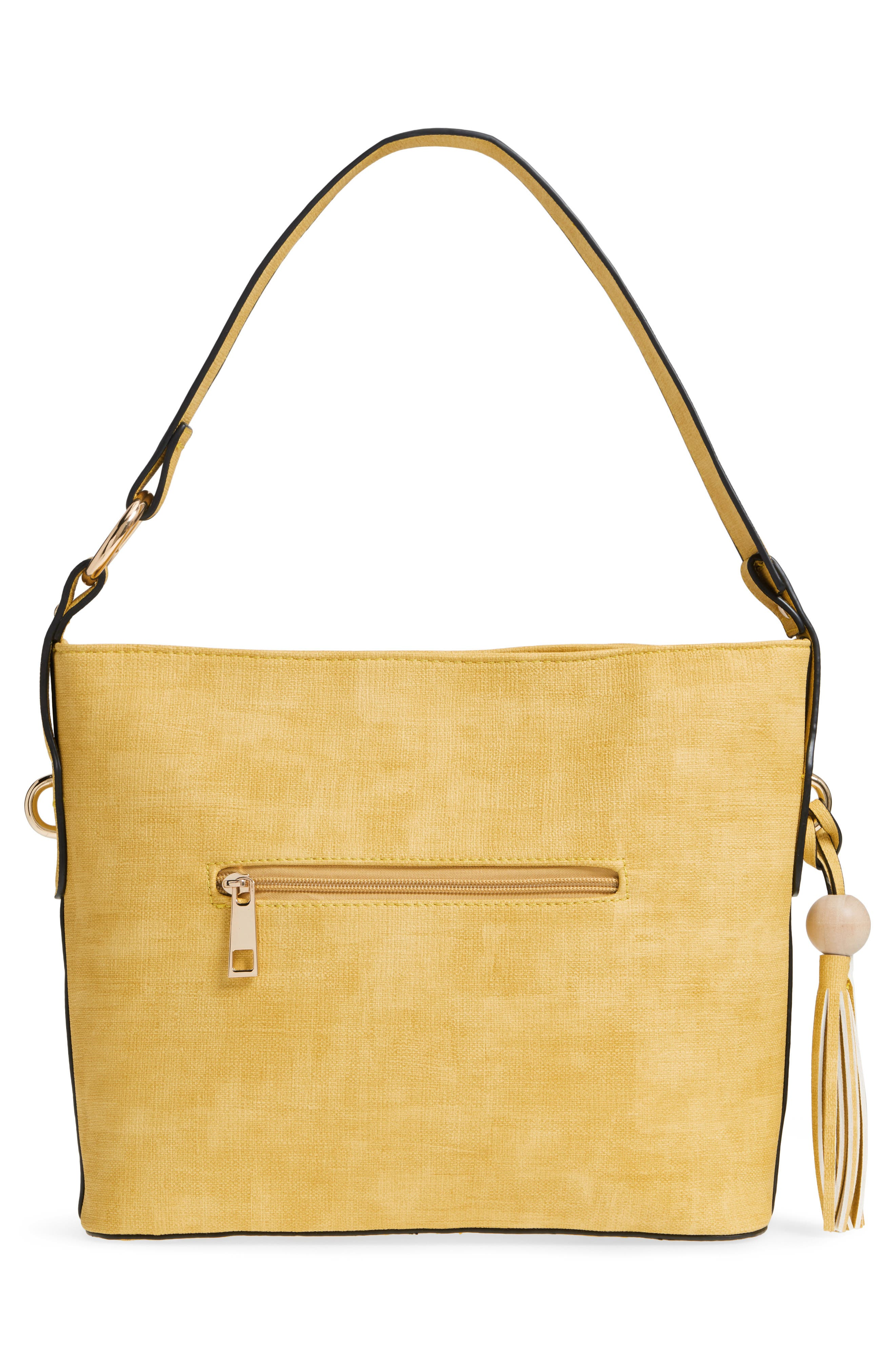 Faux Leather Tote,                             Alternate thumbnail 3, color,                             Yellow
