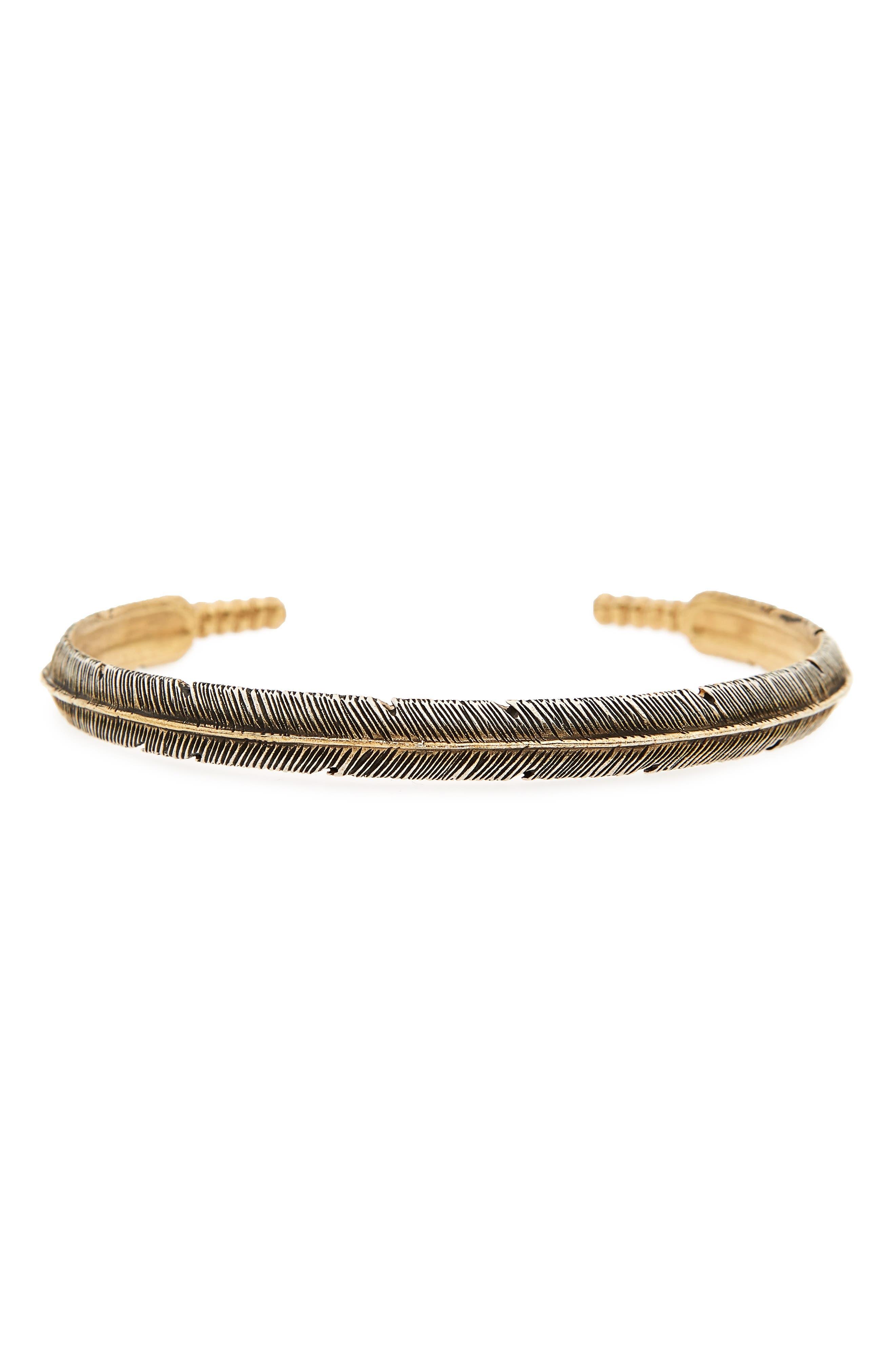 Silver Feather Cuff Bracelet,                         Main,                         color, Silver