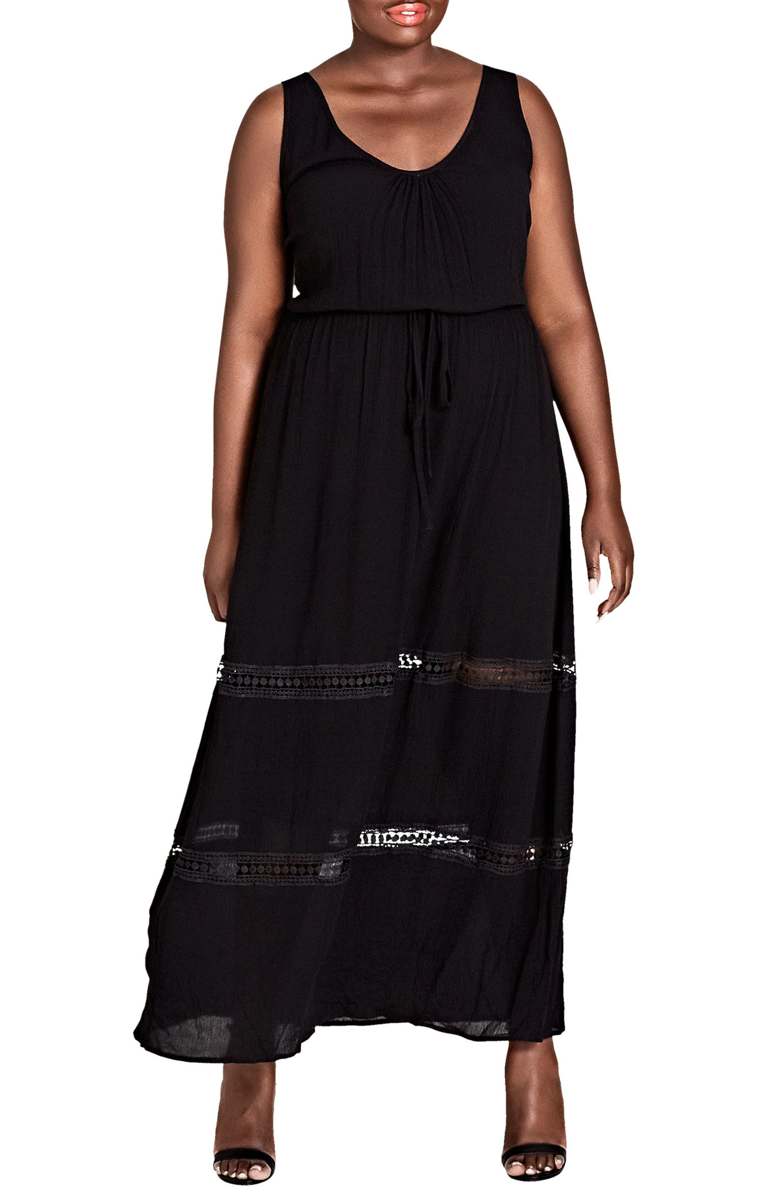 Tie Front Maxi Dress,                             Main thumbnail 1, color,                             Black