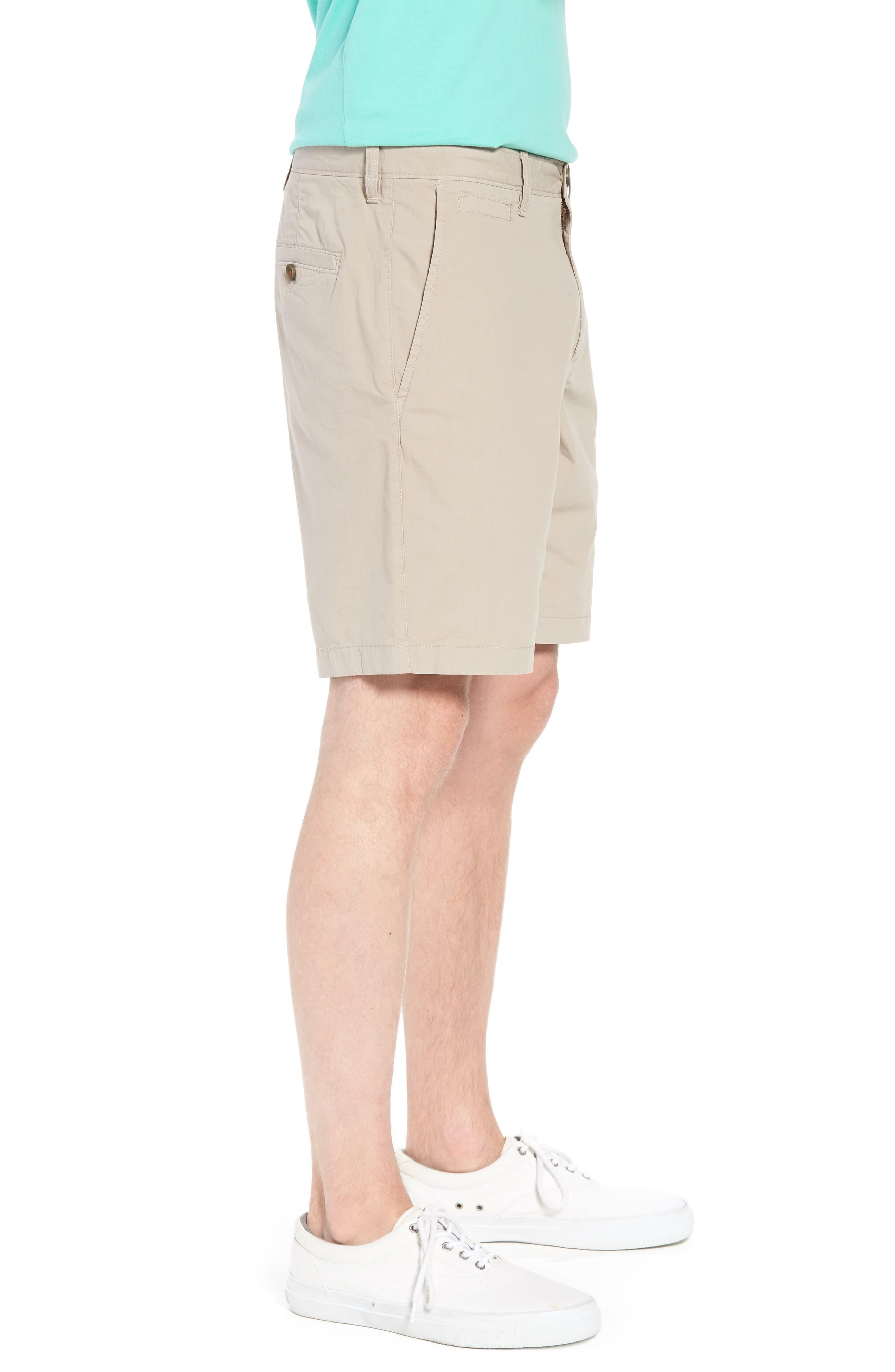 Stretch Poplin Shorts,                             Alternate thumbnail 3, color,                             Tan Thread
