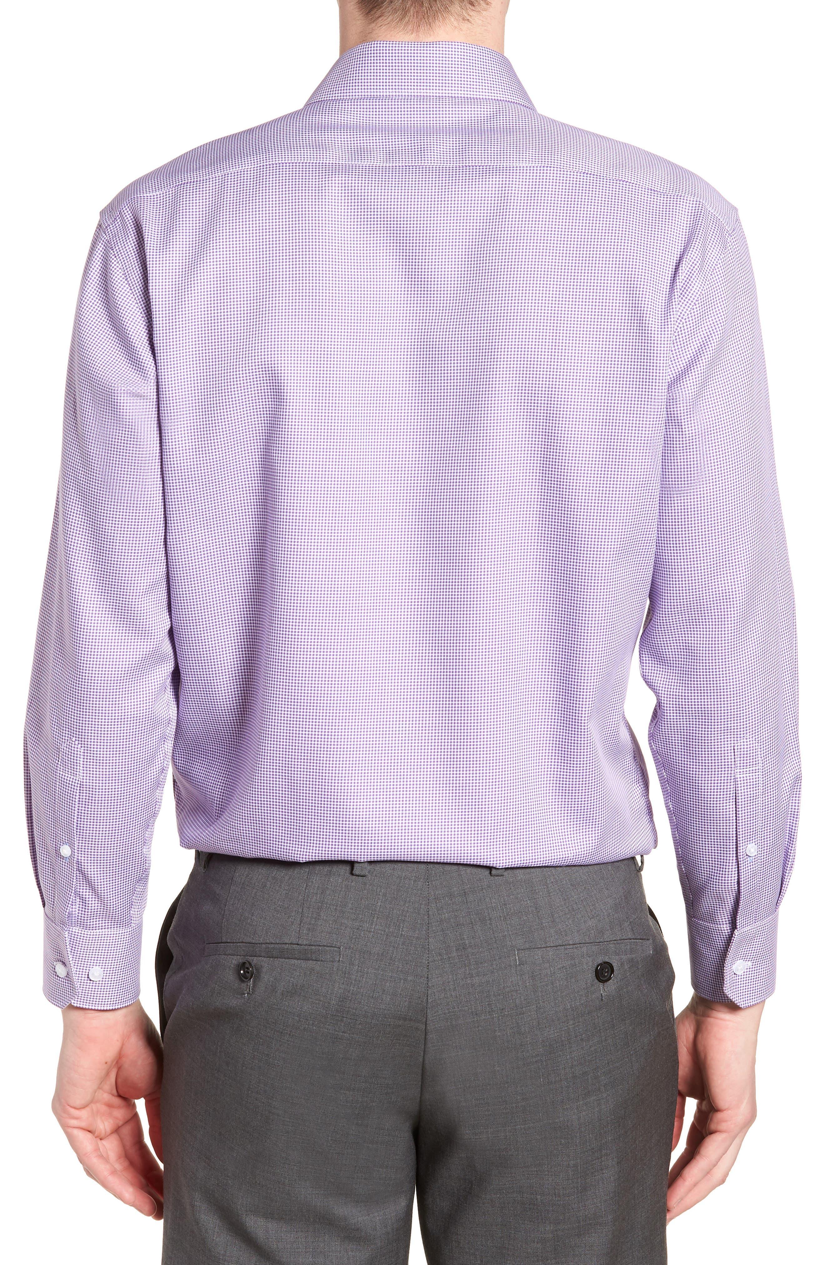 Hayden Trim Fit Check Dress Shirt,                             Alternate thumbnail 3, color,                             Purple