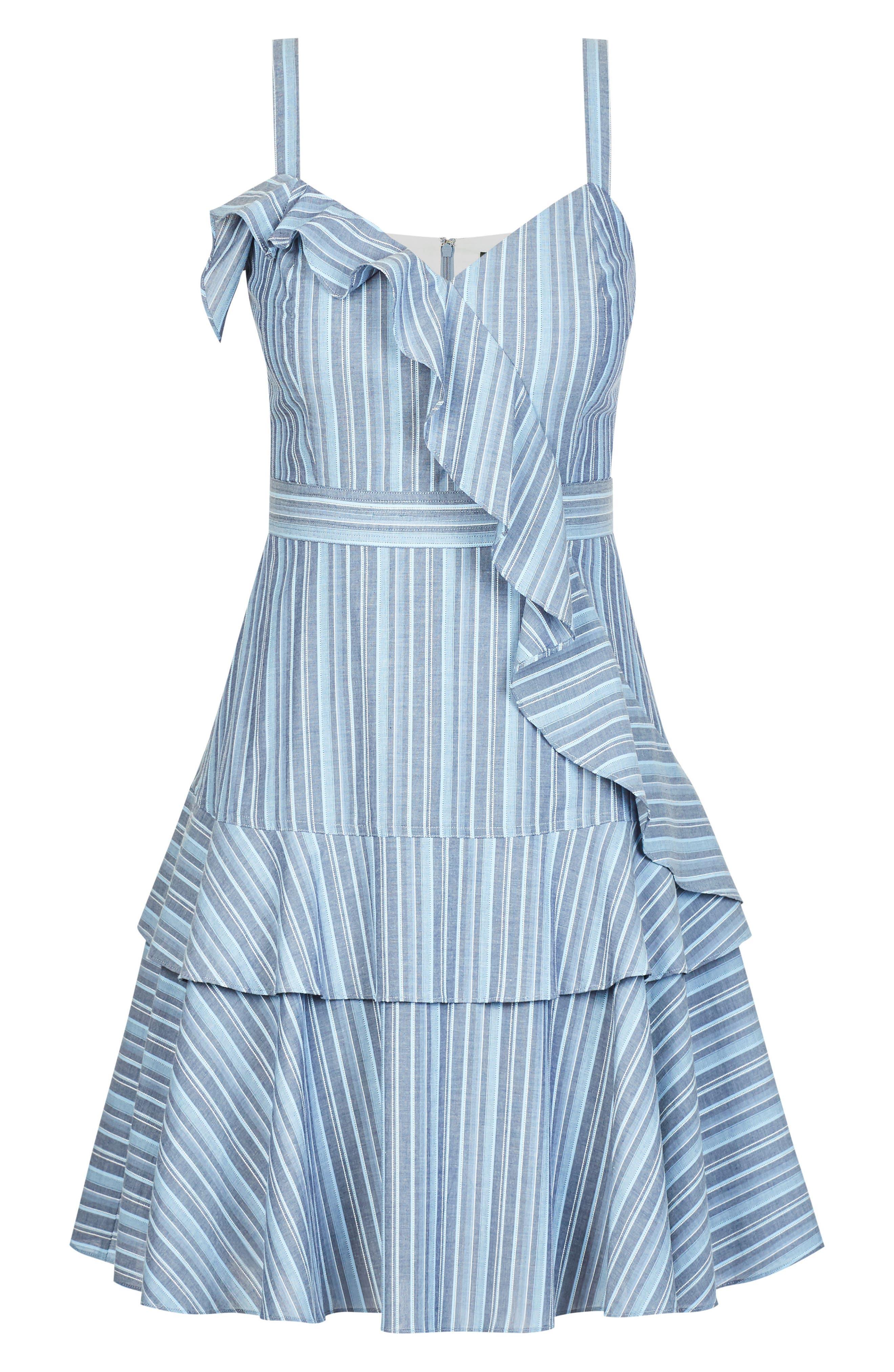 Summer Ruffle Stripe Dress,                             Alternate thumbnail 3, color,                             Blue