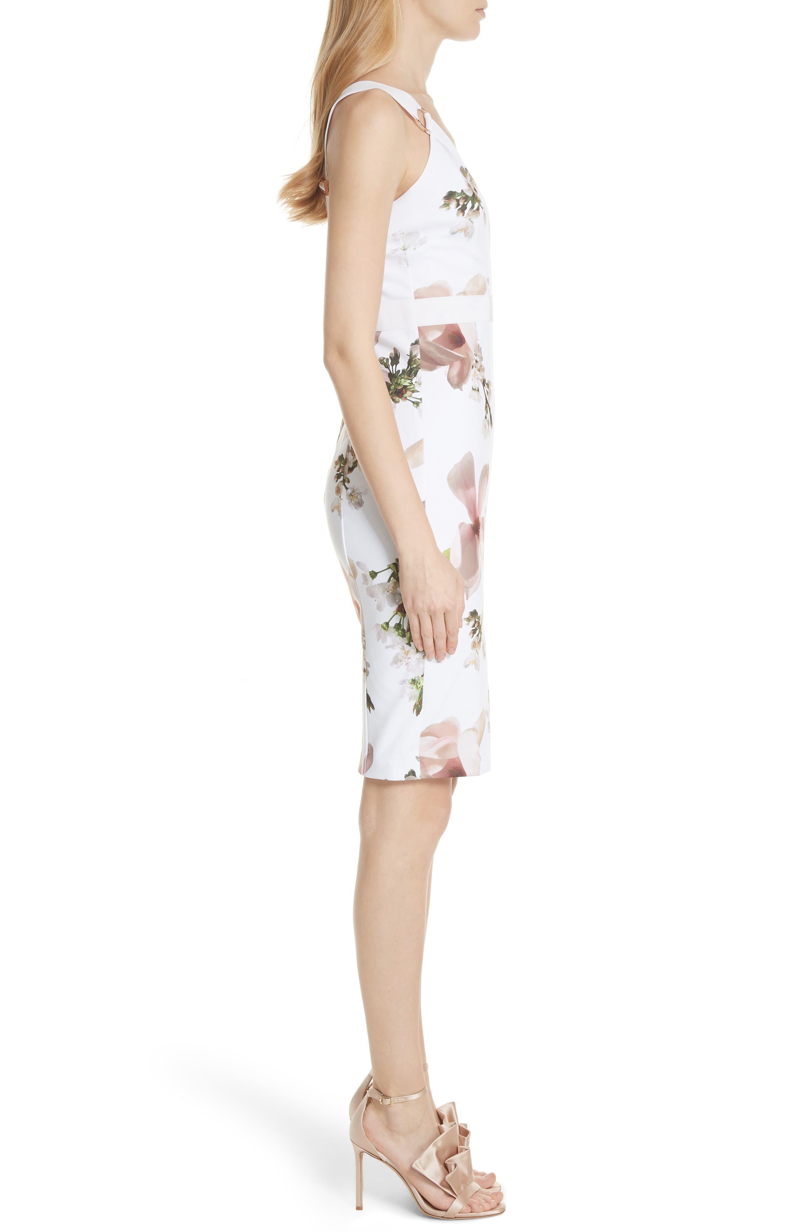 Harmony Floral Sheath Dress,                             Alternate thumbnail 3, color,                             White