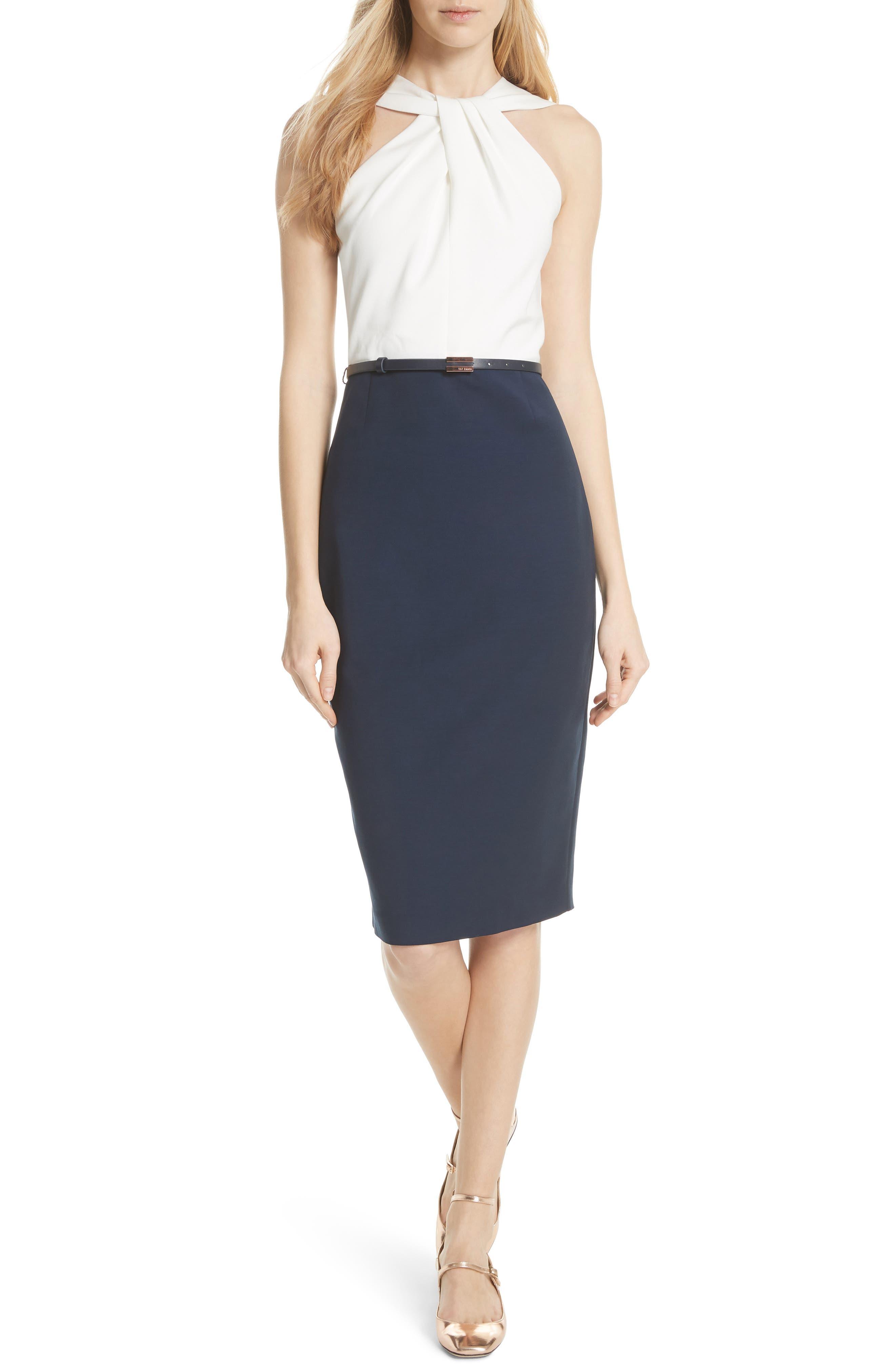 Twist Neck Belted Pencil Dress,                         Main,                         color, Dark Blue