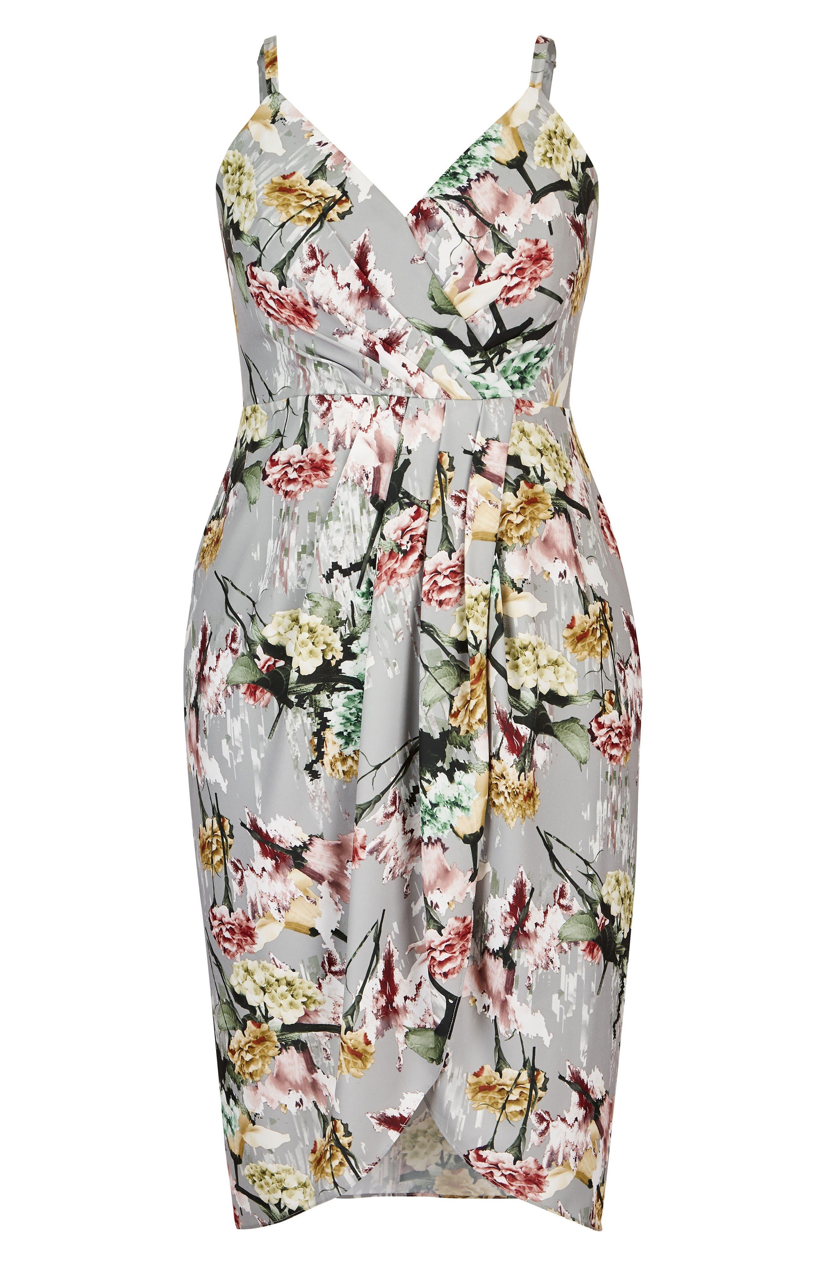 Romantic Bouquet Faux Wrap Dress,                             Alternate thumbnail 3, color,                             Romantic Bouquet