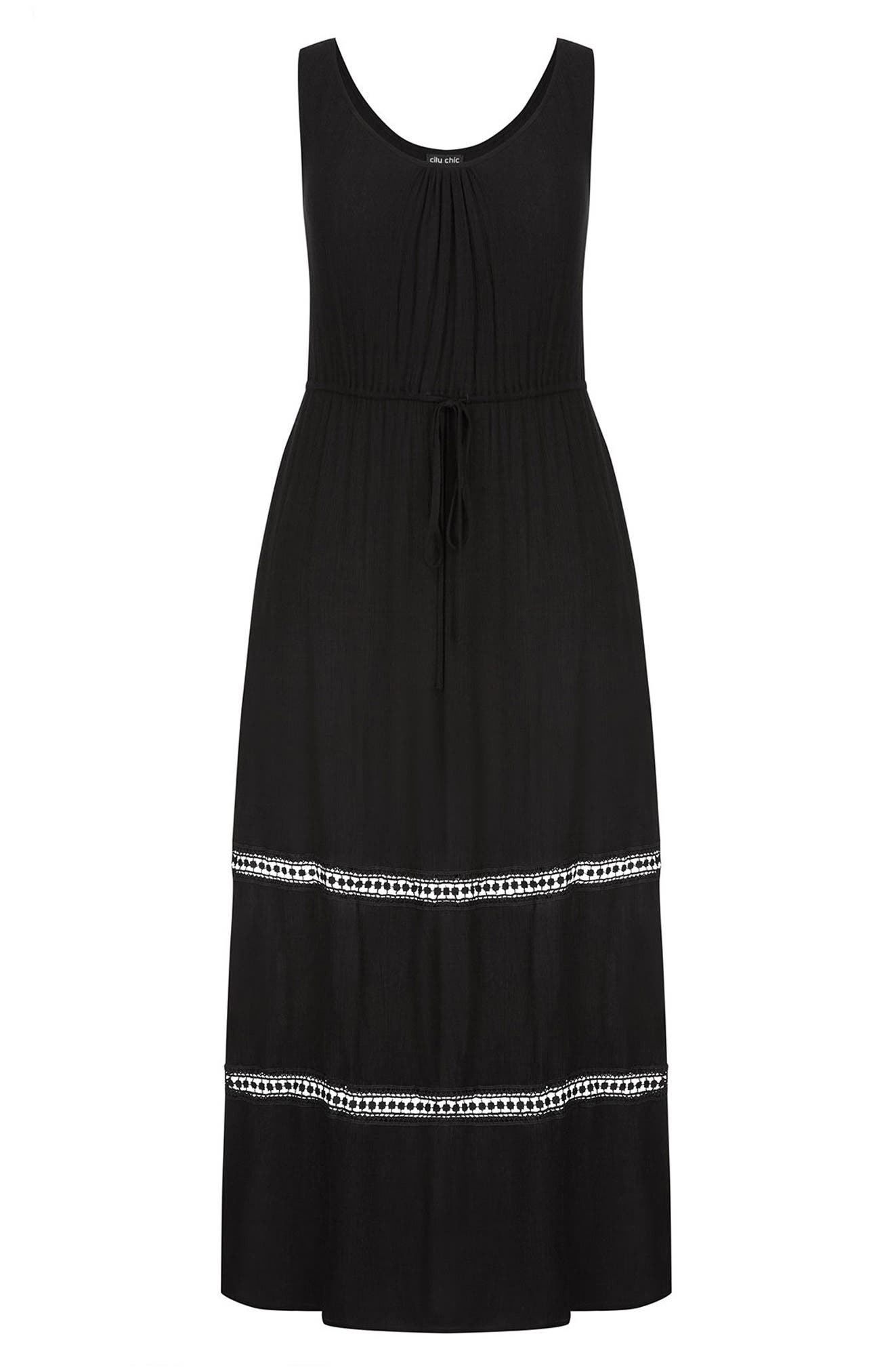 Tie Front Maxi Dress,                             Alternate thumbnail 3, color,                             Black