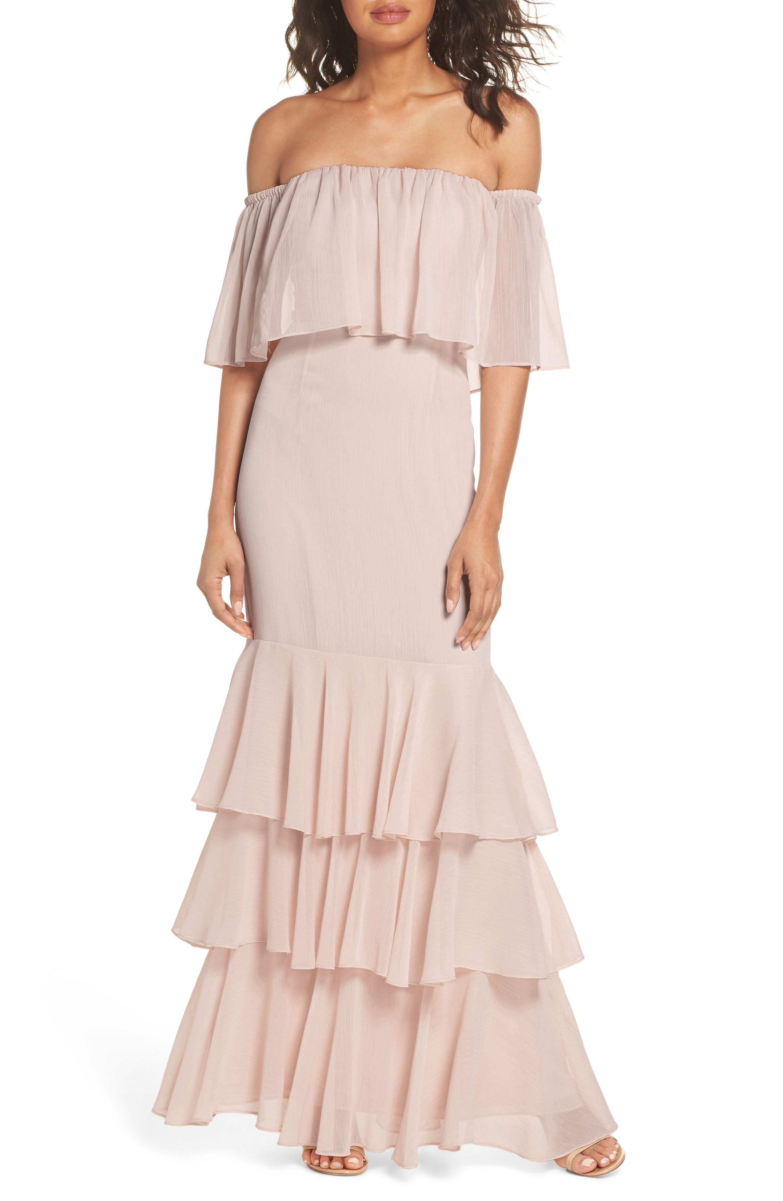 Penelope Off the Shoulder Popover Gown,                             Main thumbnail 1, color,                             Champagne