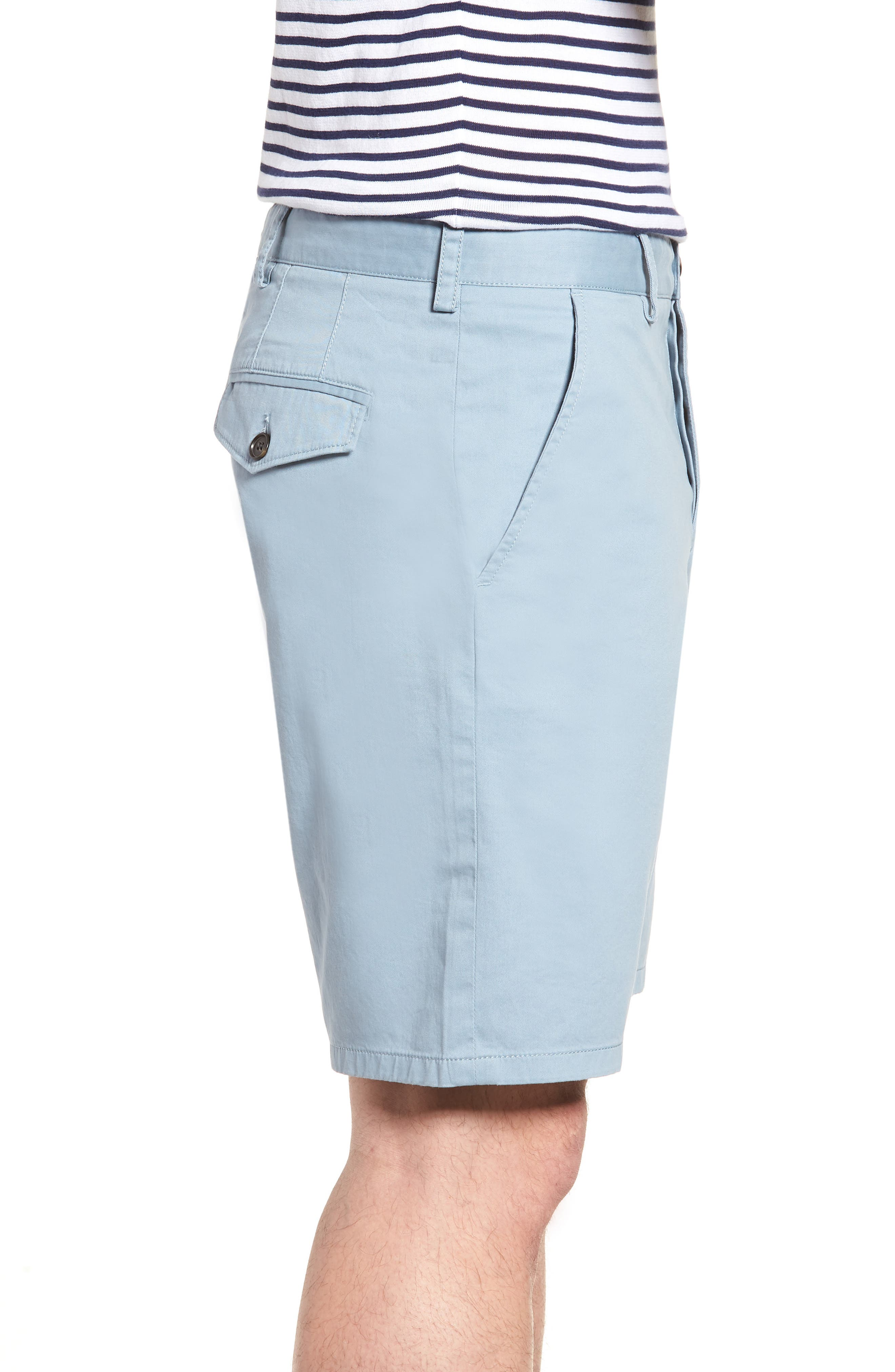 Machine Gun Stretch Cotton Shorts,                             Alternate thumbnail 3, color,                             Ashley Blue
