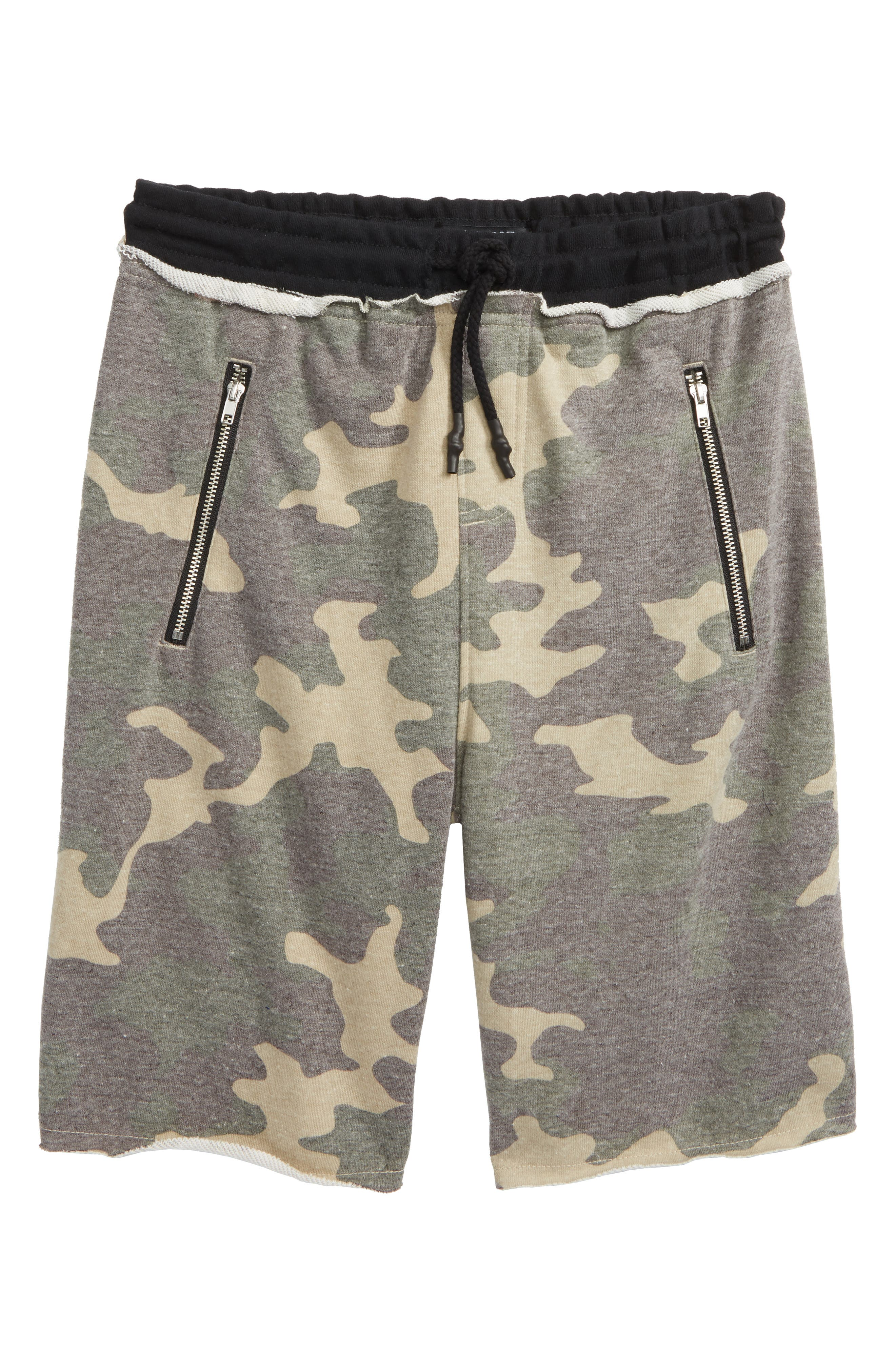 Raw Edge Shorts,                             Main thumbnail 1, color,                             Camo/ Black