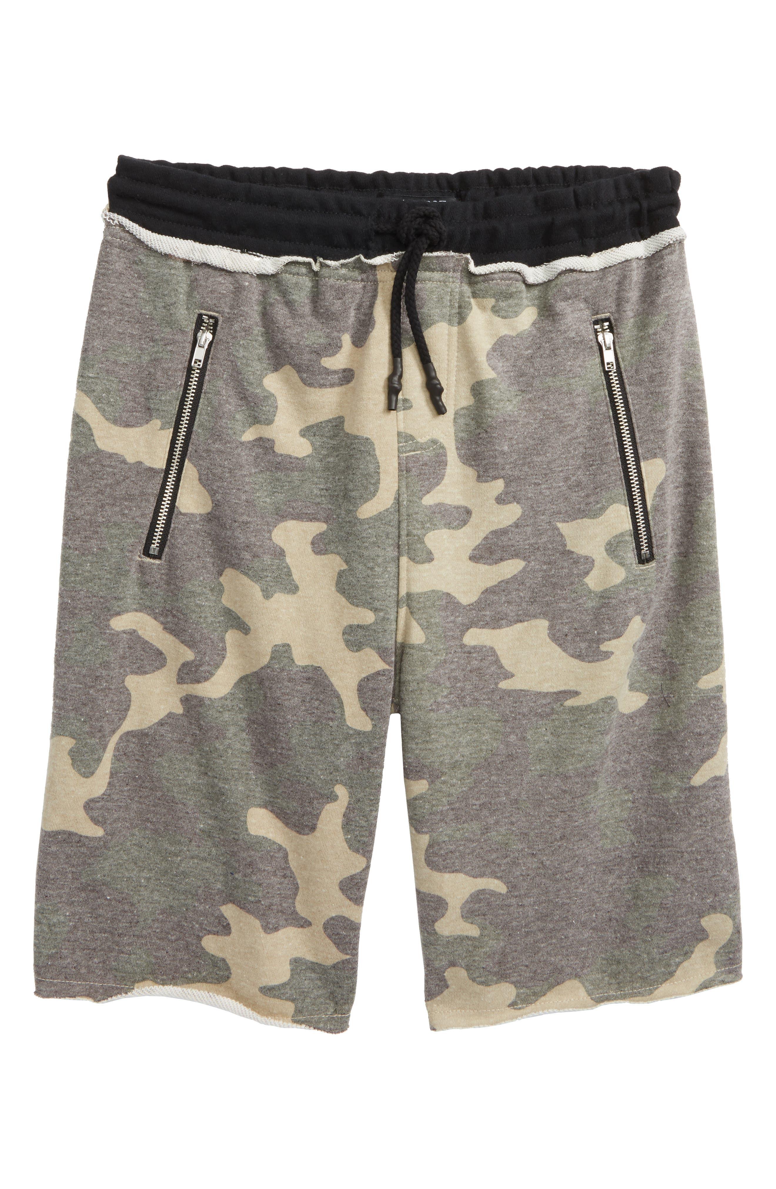 Raw Edge Shorts,                         Main,                         color, Camo/ Black