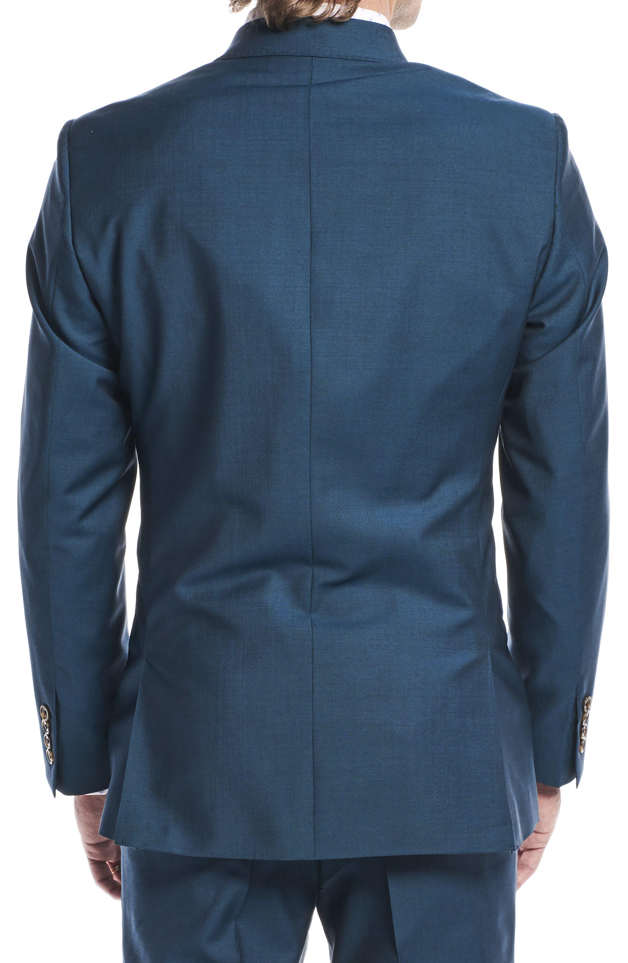 by Ilaria Urbinati Kilgore Slim Fit Solid Wool & Mohair Suit,                             Alternate thumbnail 4, color,                             Blue Teal