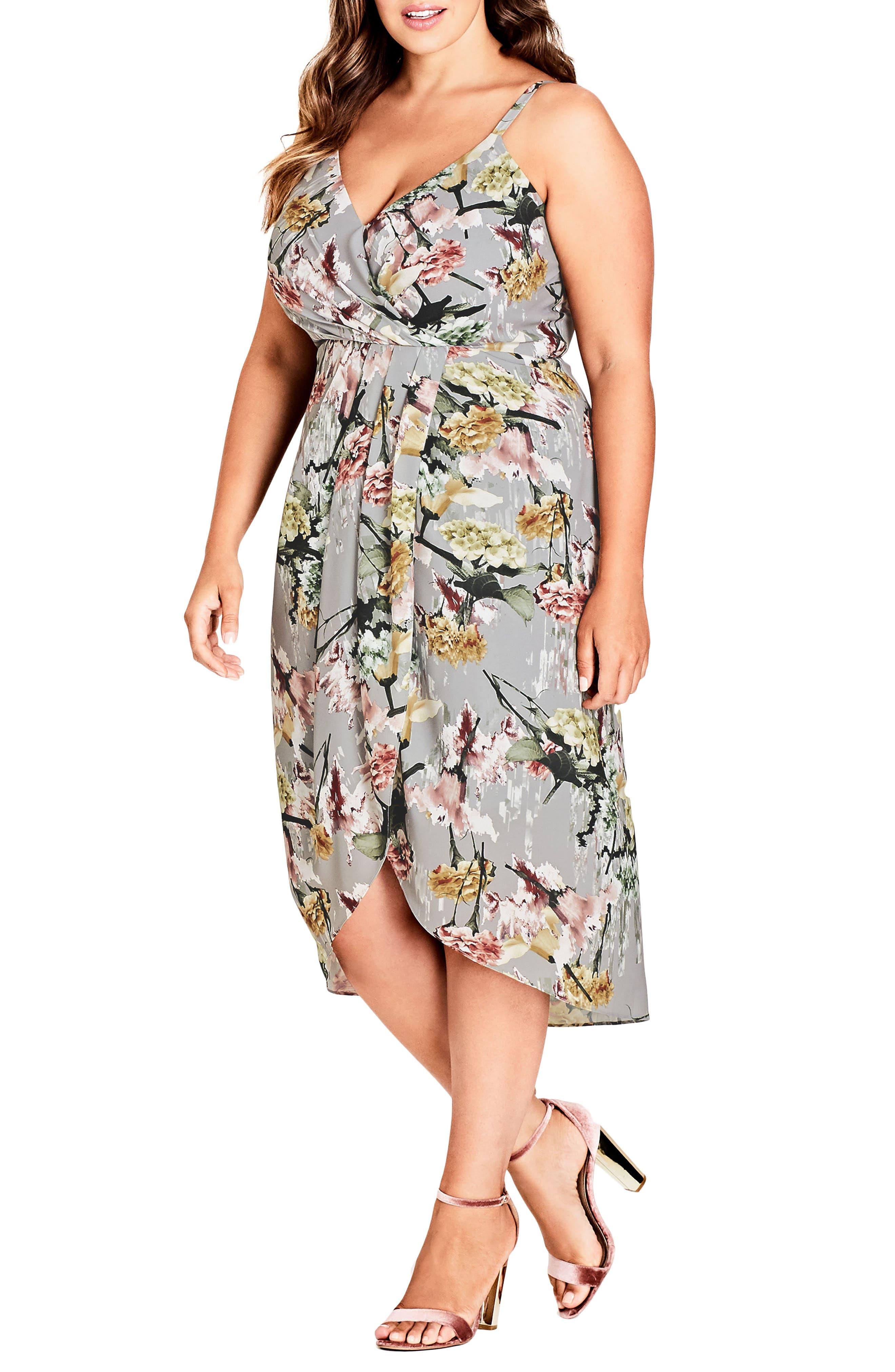 Alternate Image 1 Selected - City Chic Romantic Bouquet Faux Wrap Dress (Plus Size)