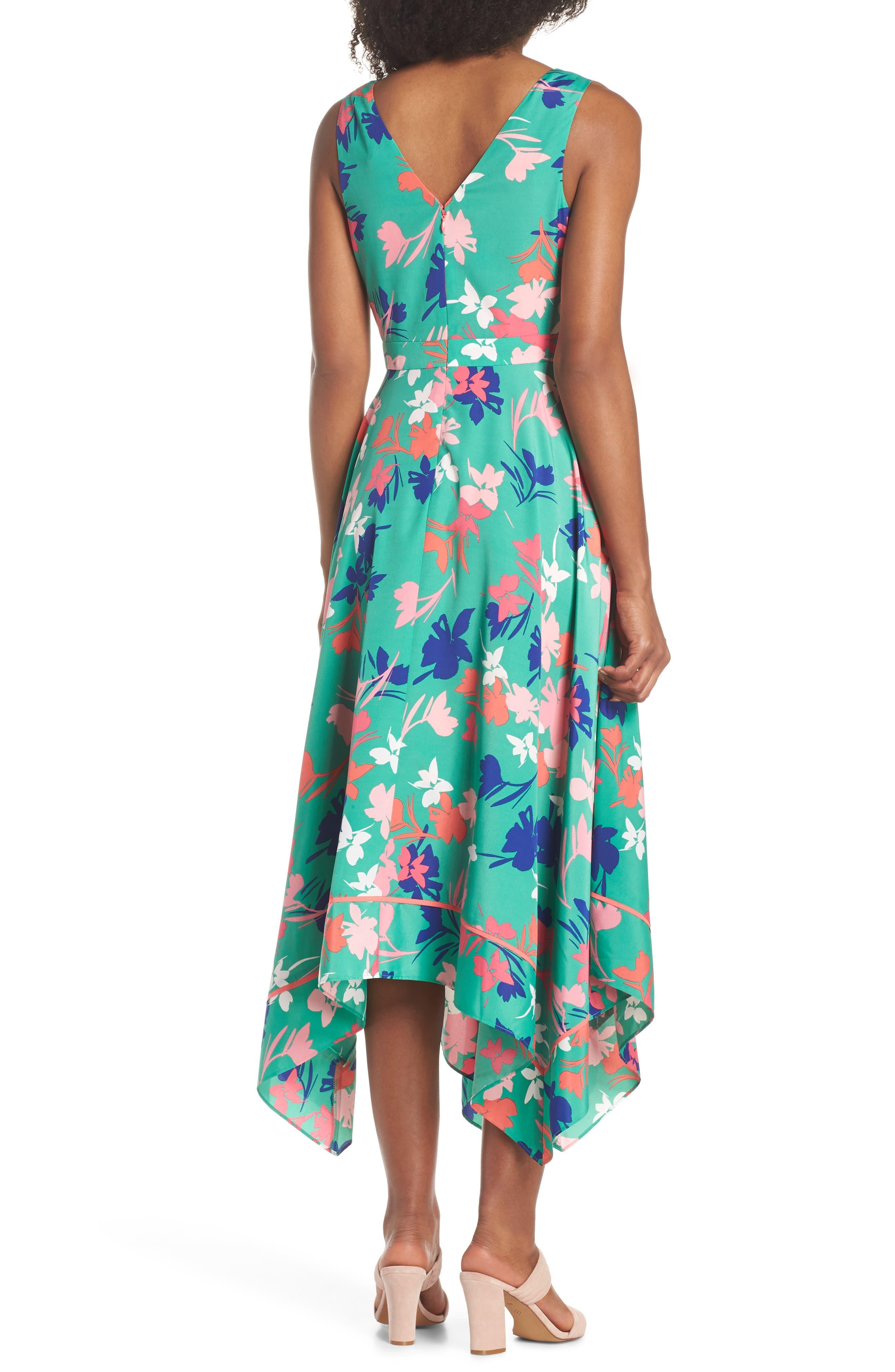 Floral Asymmetric Hem Midi Dress,                             Alternate thumbnail 2, color,                             Green