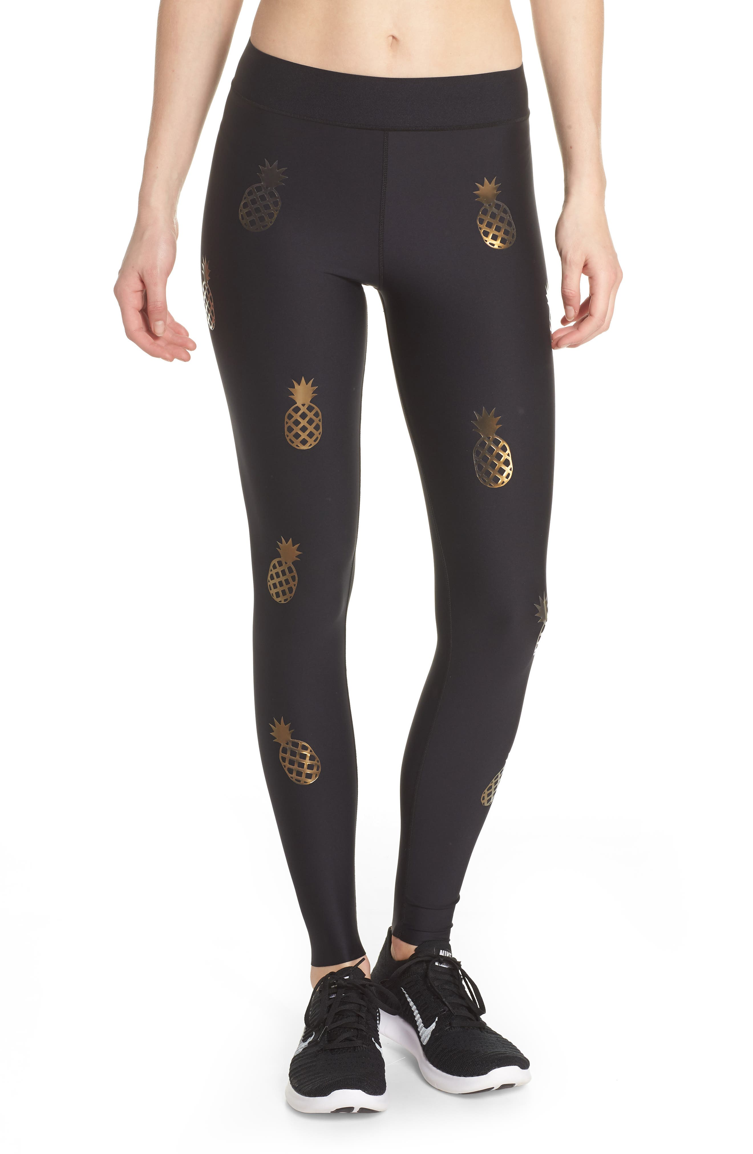 Ultra Pineapple Knockout Leggings,                         Main,                         color, Nero/ Iridescent Gold