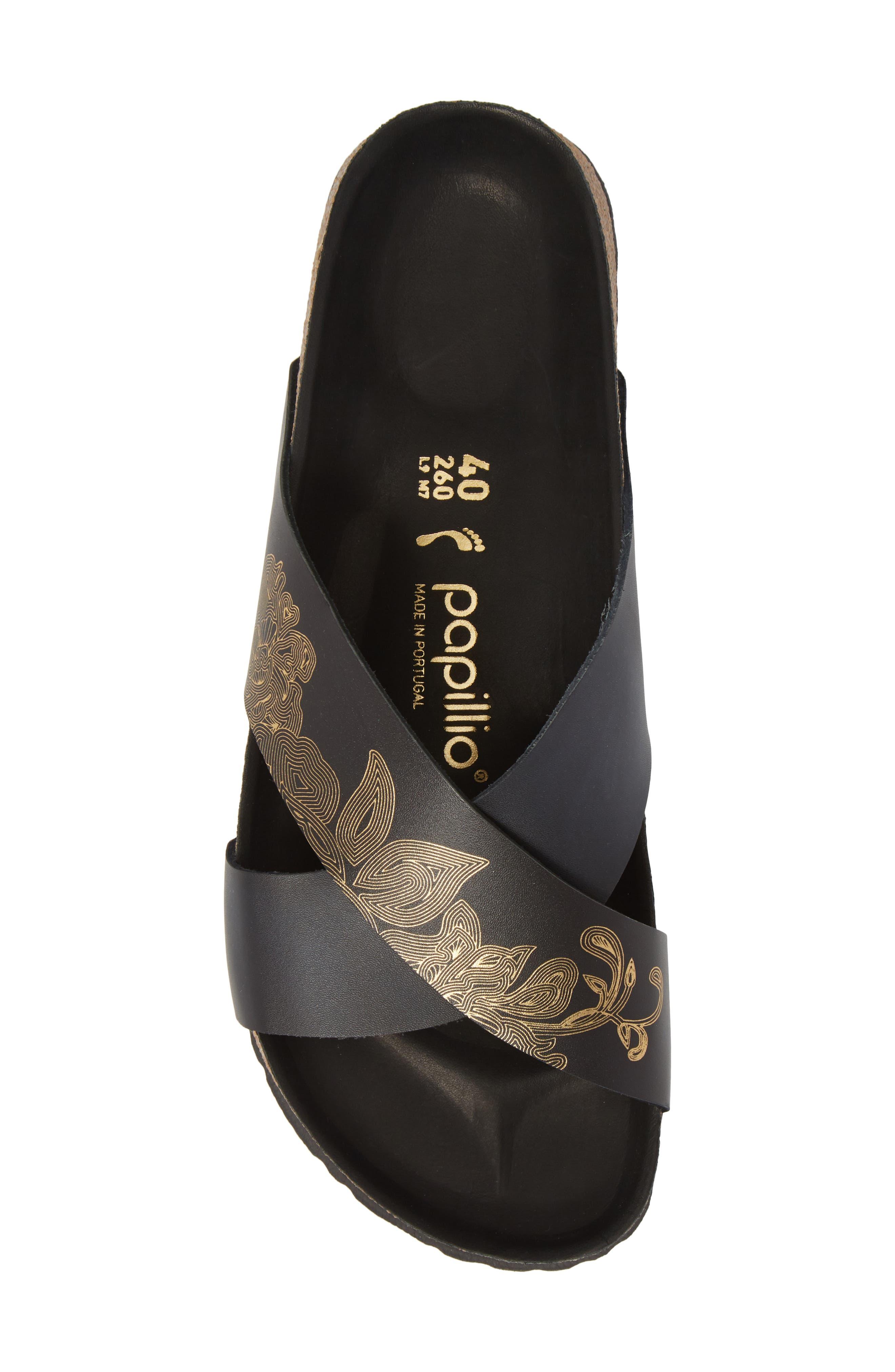 Papillio by Birkenstock Daytona Hex Slide Sandal,                             Alternate thumbnail 5, color,                             Ornaments Black Leather