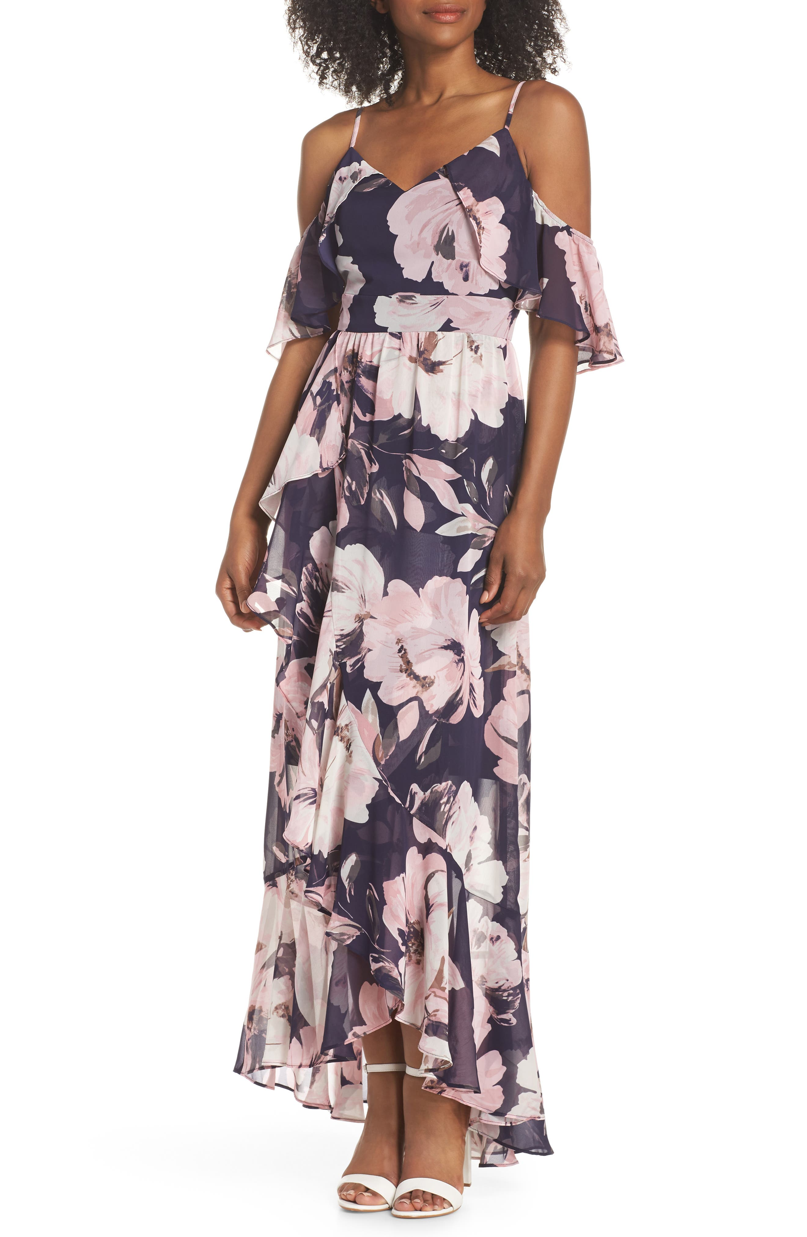 Print Cold Shoulder Chiffon Maxi Dress,                         Main,                         color, Navy Multi
