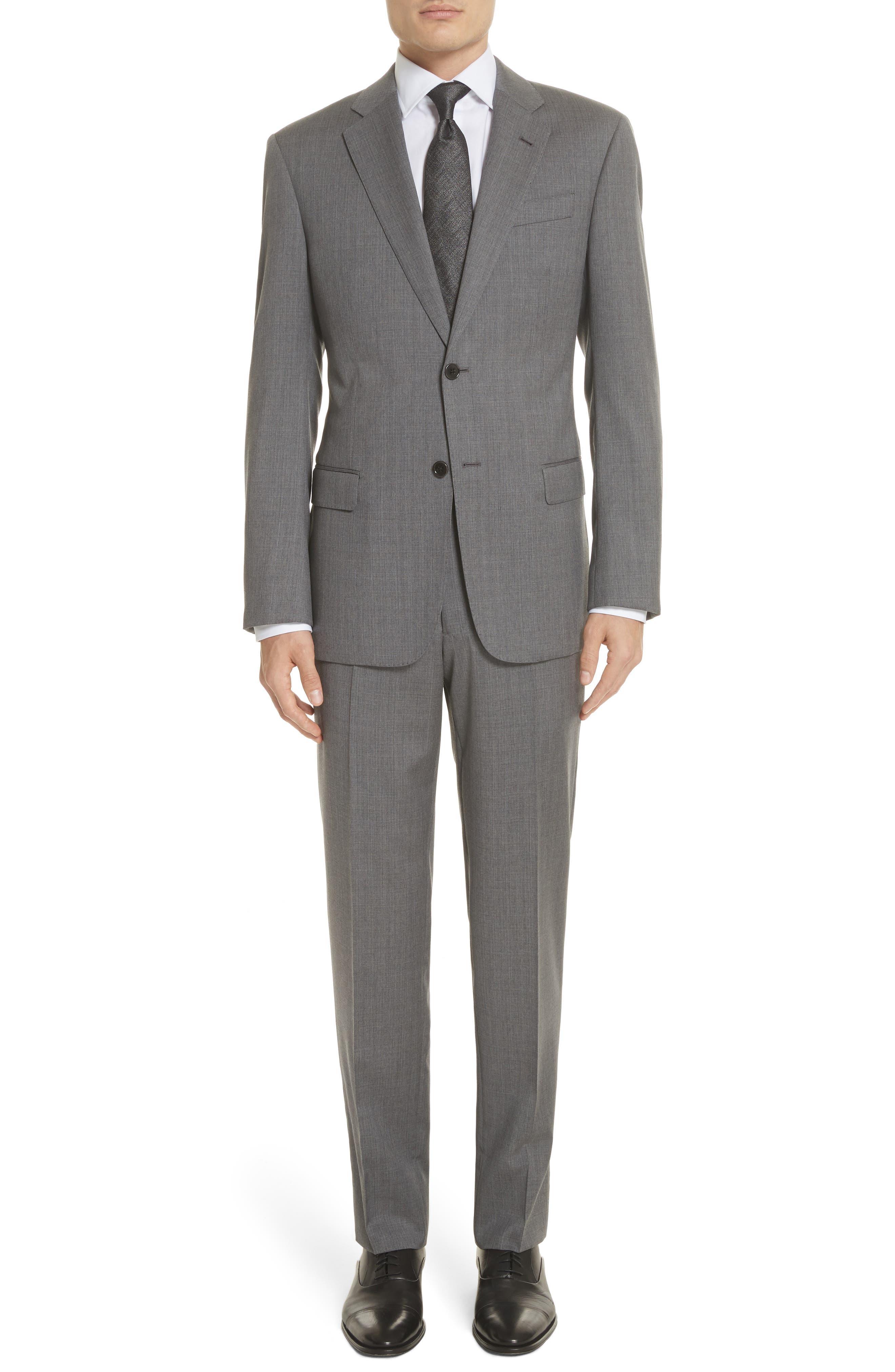 Trim Fit Sharkskin Wool Suit,                         Main,                         color, Grey