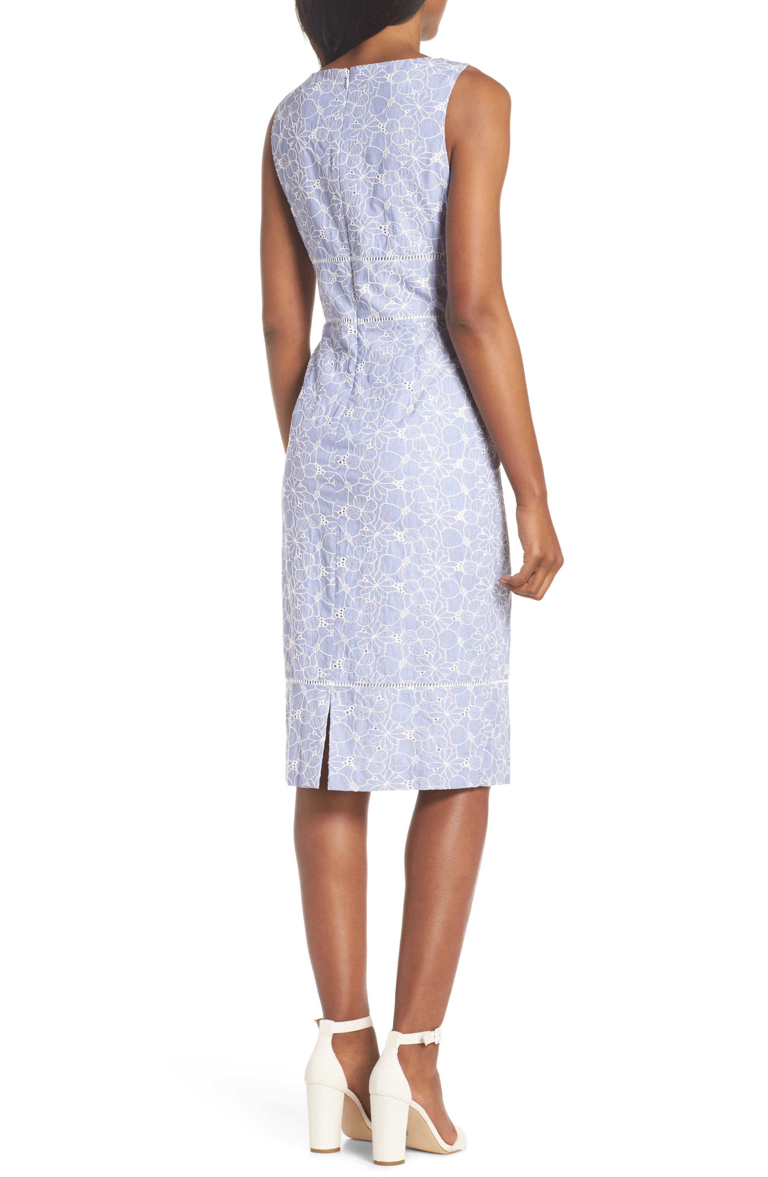 Sleeveless Embroidered Sheath Dress,                             Alternate thumbnail 2, color,                             Blue/ White