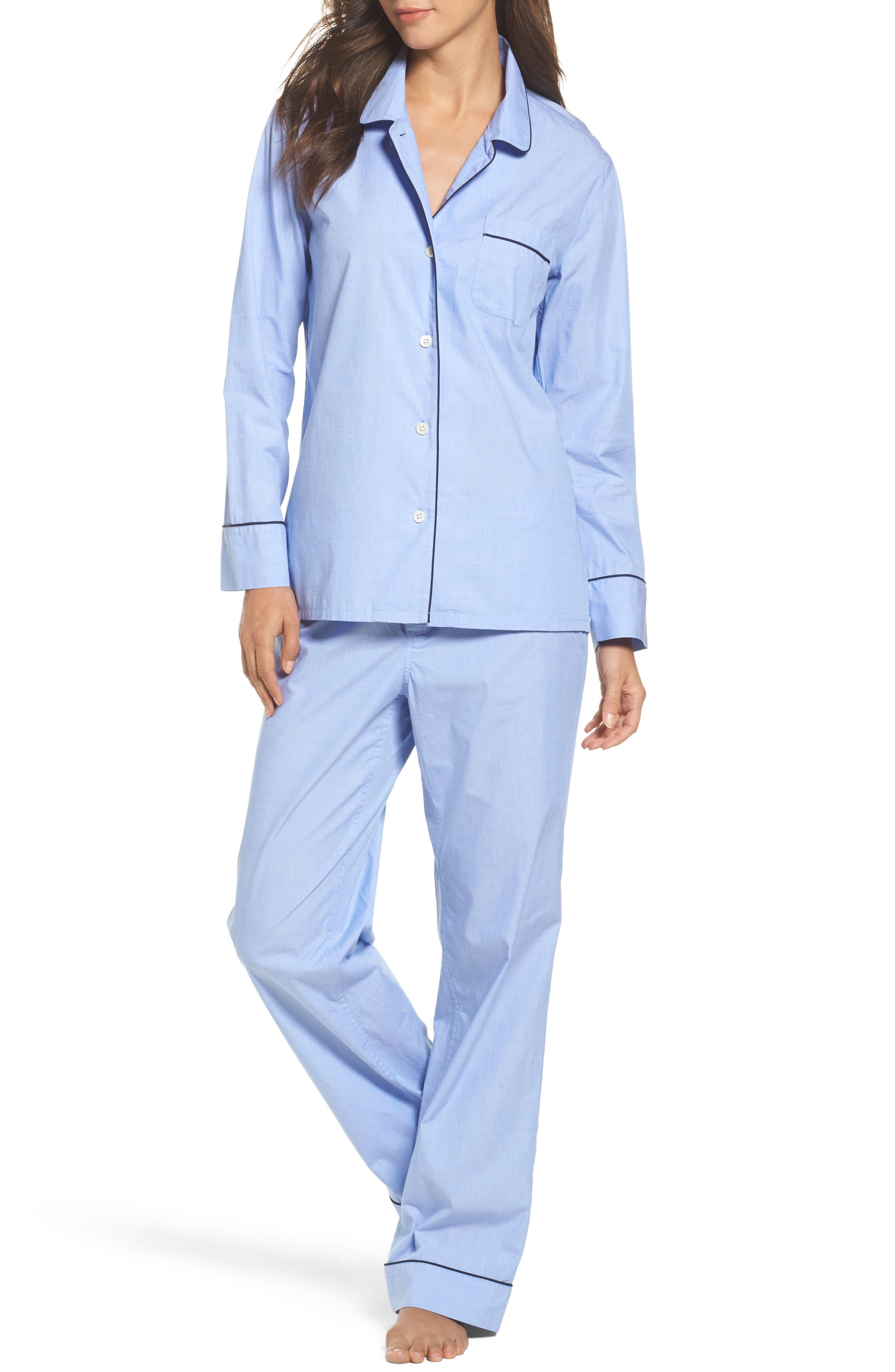 Vintage Cotton Pajamas,                         Main,                         color, Hydrangea