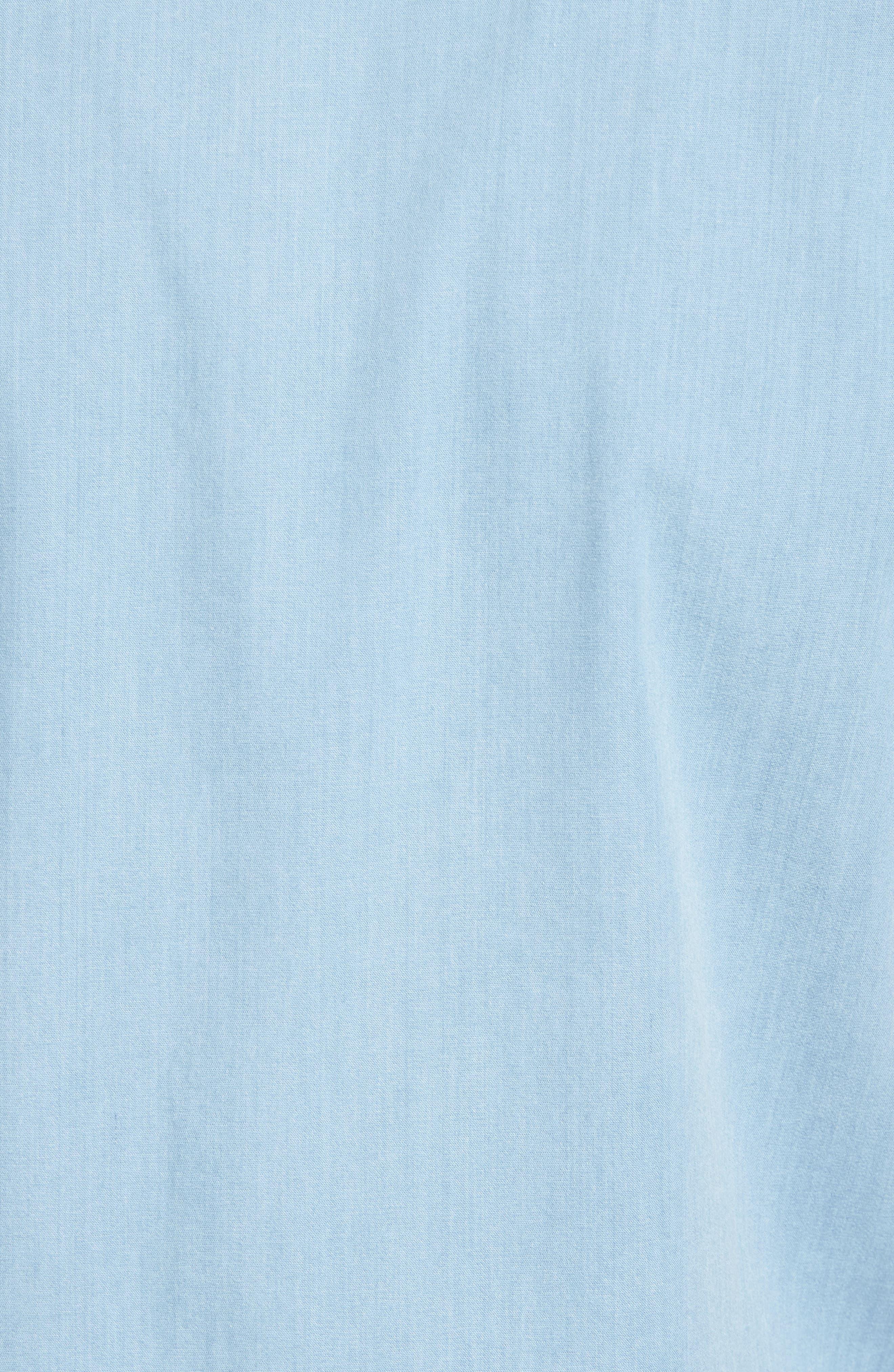Workwear Trim Fit Stretch Denim Shirt,                             Alternate thumbnail 5, color,                             Blue Light Chambray