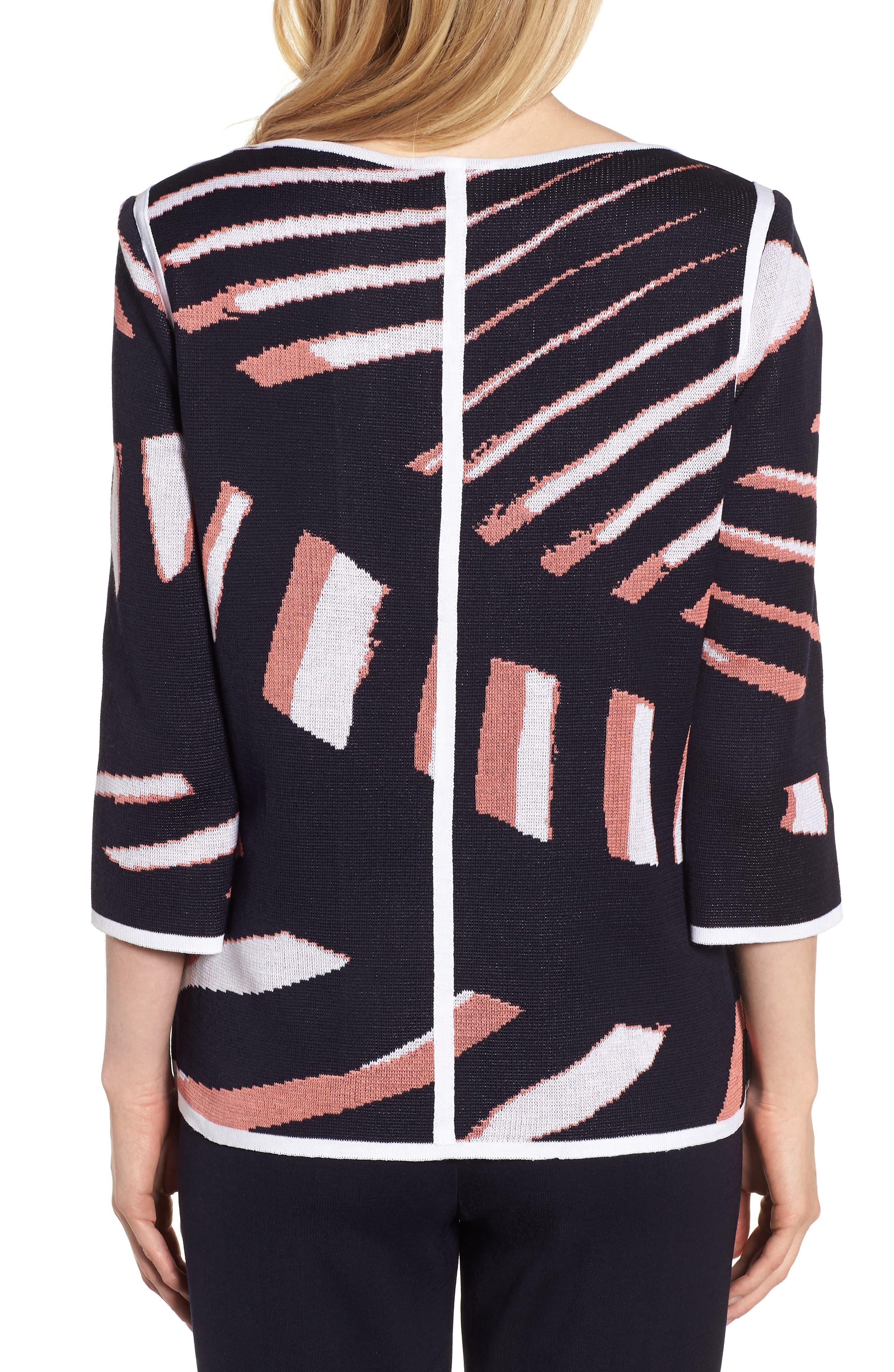 Zip Front Knit Jacket,                             Alternate thumbnail 2, color,                             Navy/ Daylily/ White