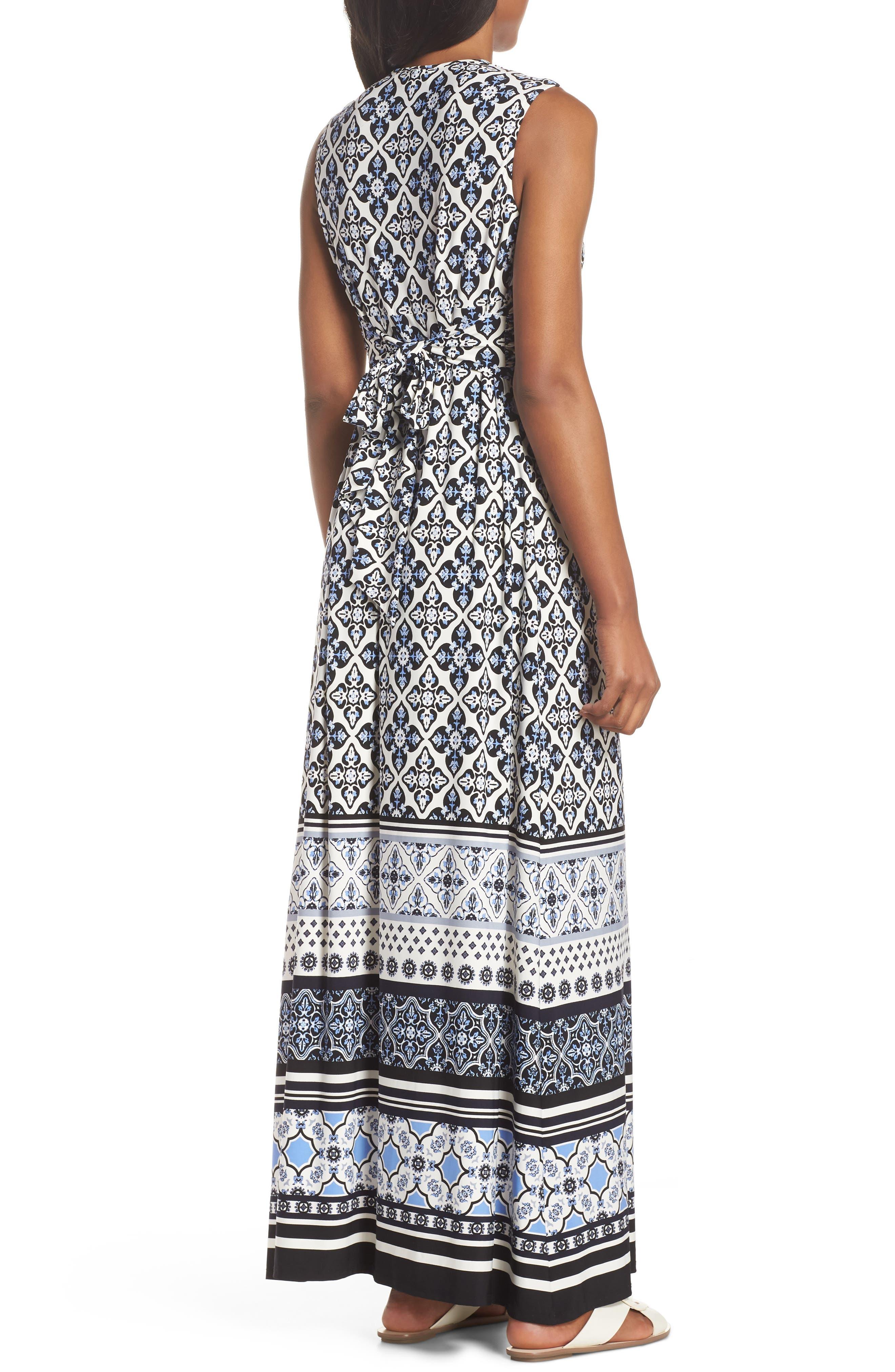 Knot Detail Jersey Maxi Dress,                             Alternate thumbnail 2, color,                             Blue/ White