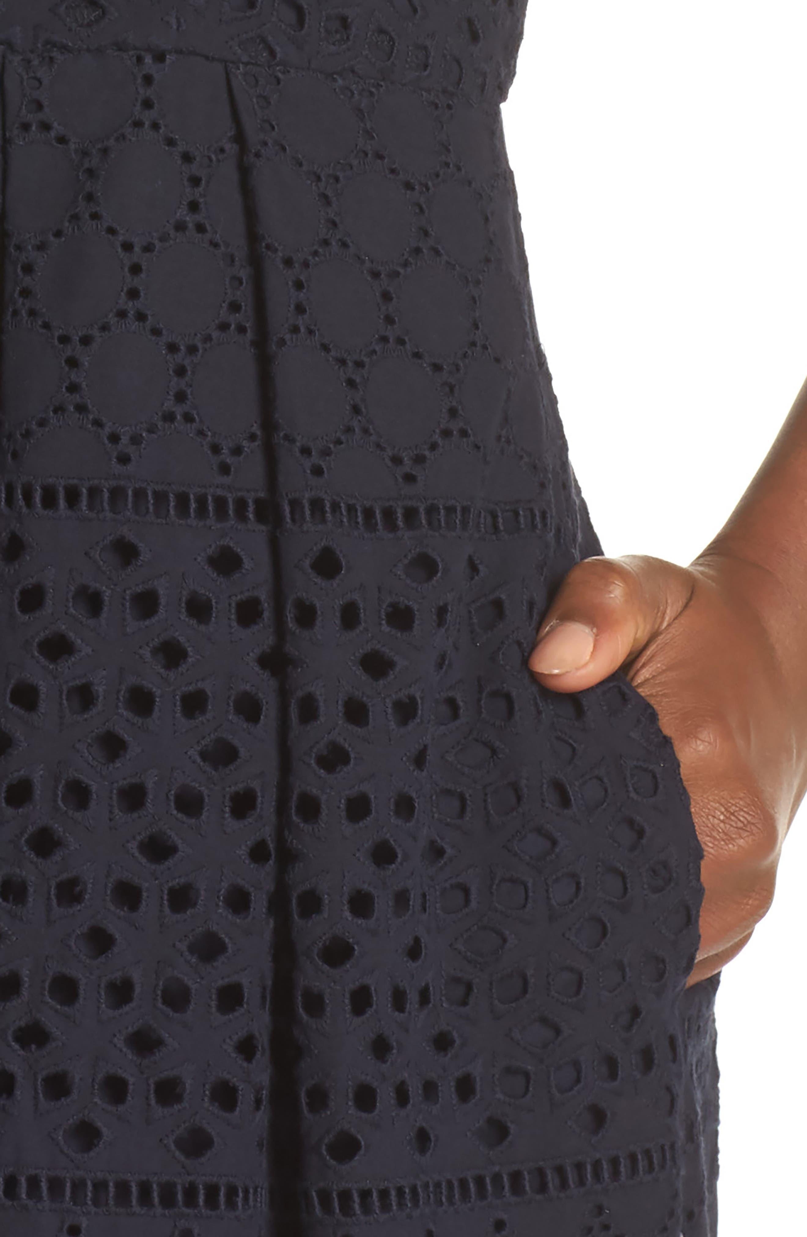 V-Neck Cotton Eyelet Fit & Flare Dress,                             Alternate thumbnail 4, color,                             Navy