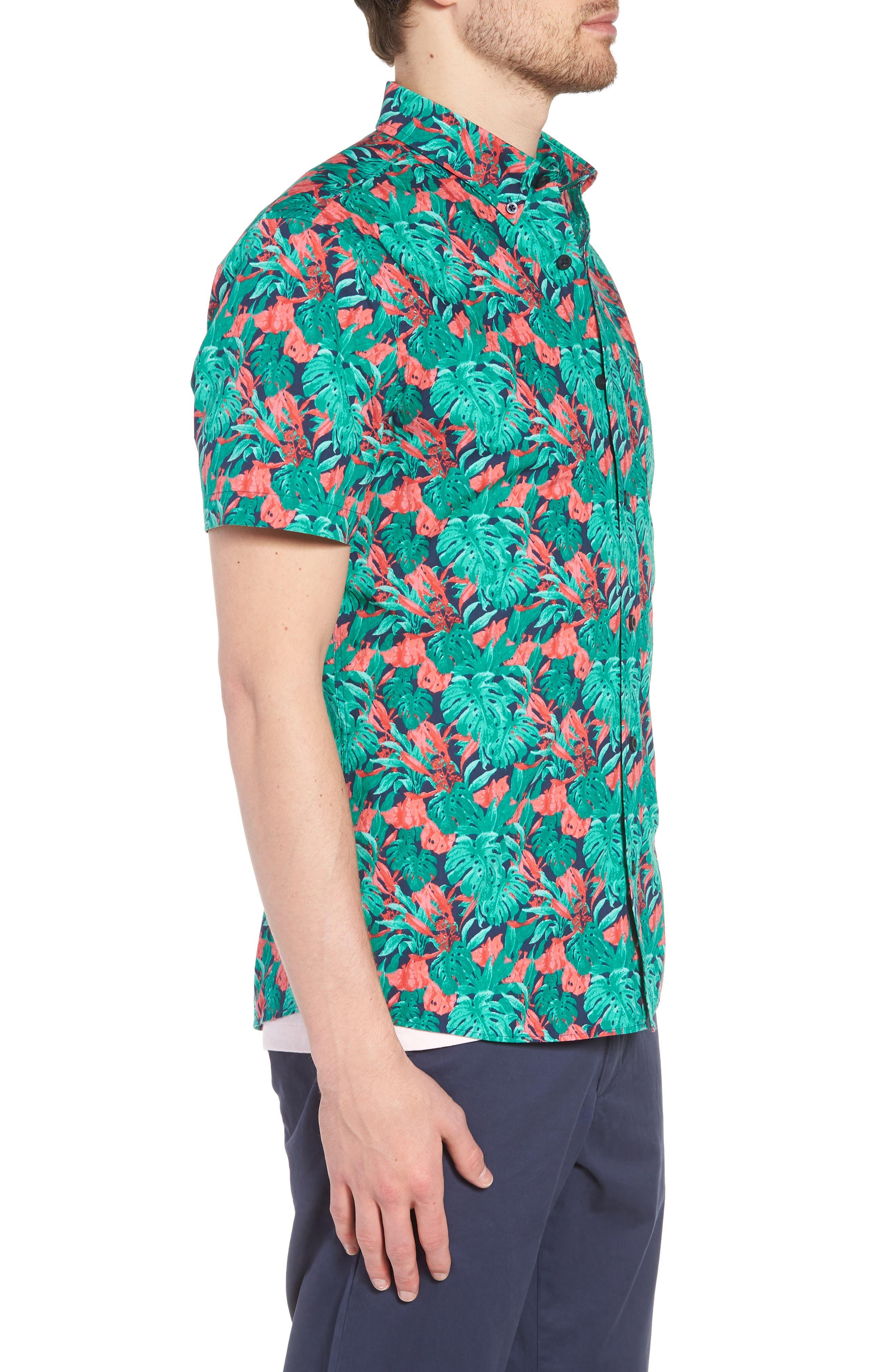 Trim Fit Print Short Sleeve Sport Shirt,                             Alternate thumbnail 3, color,                             Green Red Split Leaves