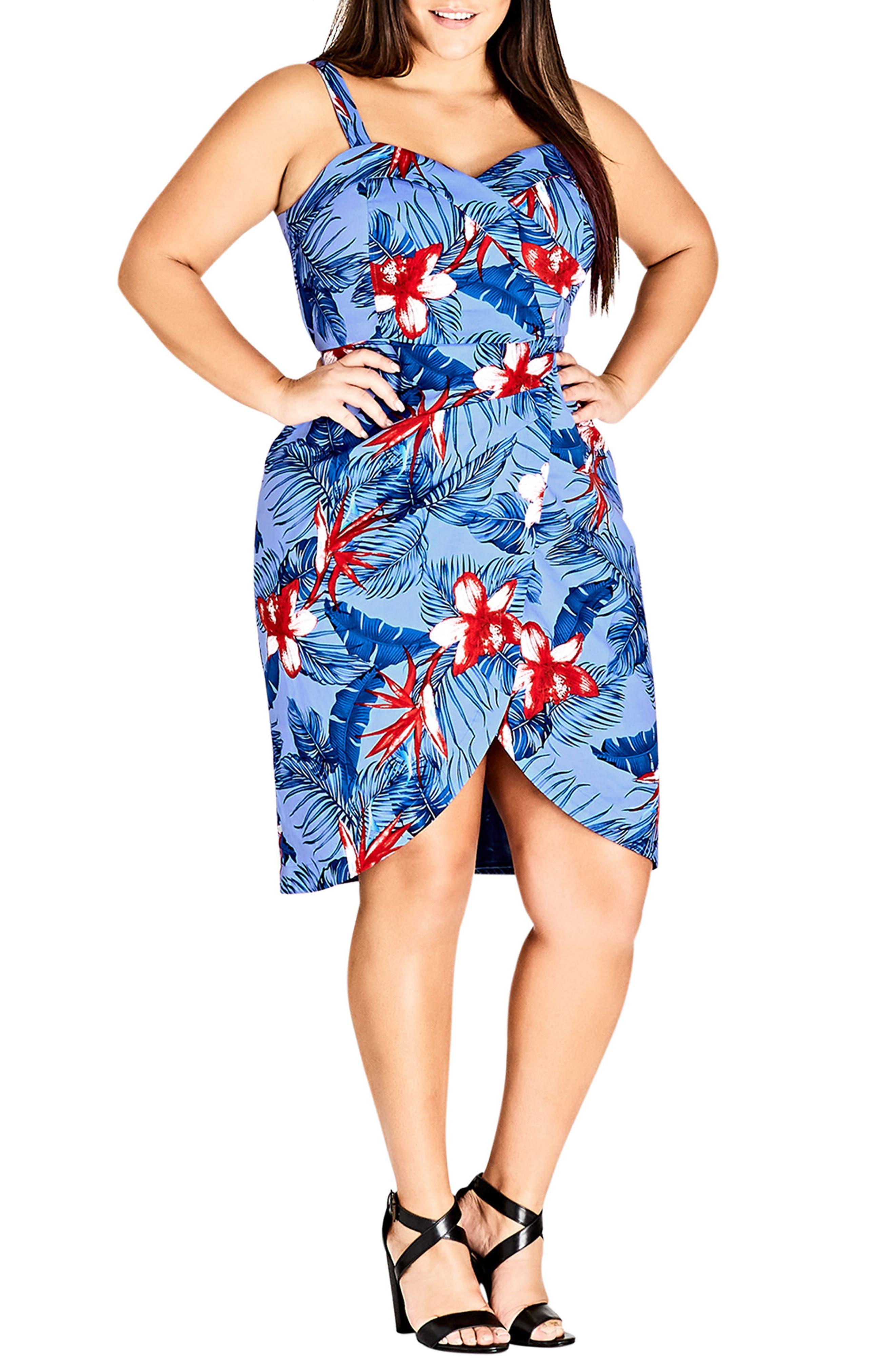 Hawaiian Love Stretch Cotton Dress,                             Main thumbnail 1, color,                             Hawaiian Love