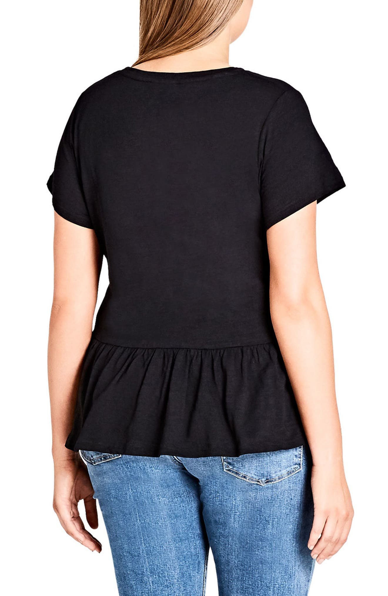 Spring Frill Cotton Top,                             Alternate thumbnail 2, color,                             Black