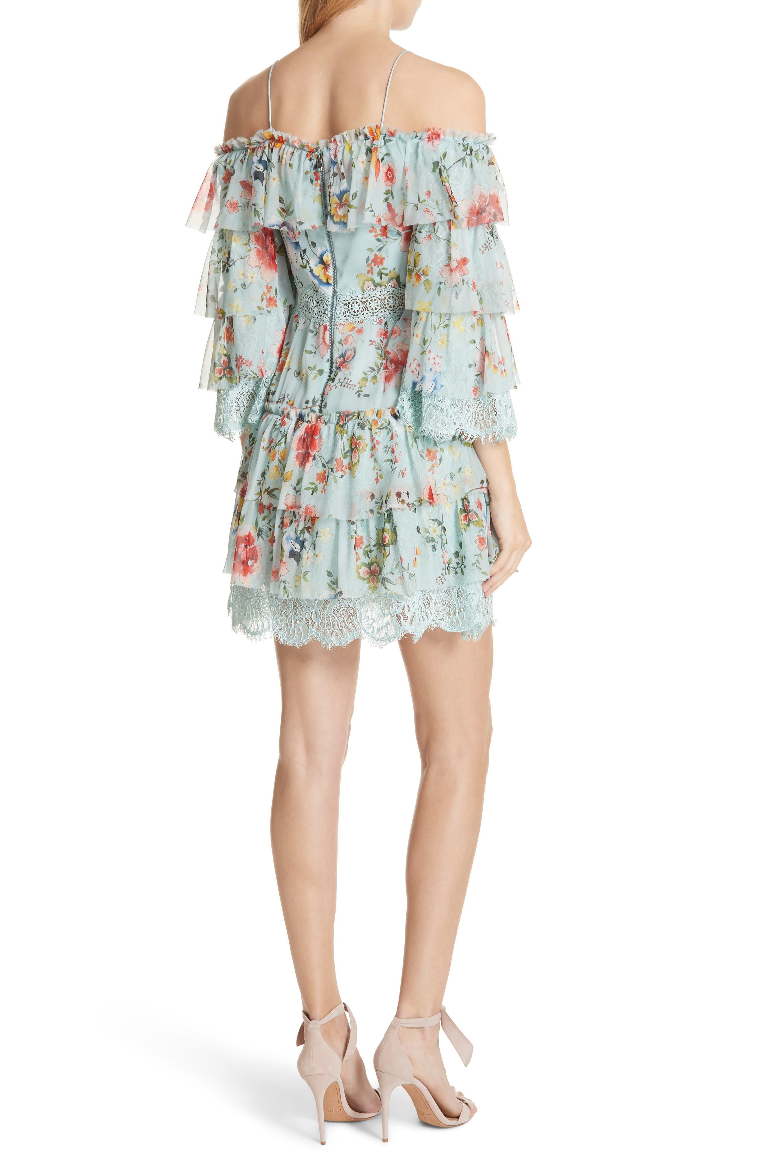 Santos Cold Shoulder Tiered Silk Dress,                             Alternate thumbnail 2, color,                             Floral Soiree-Dusty Aqua