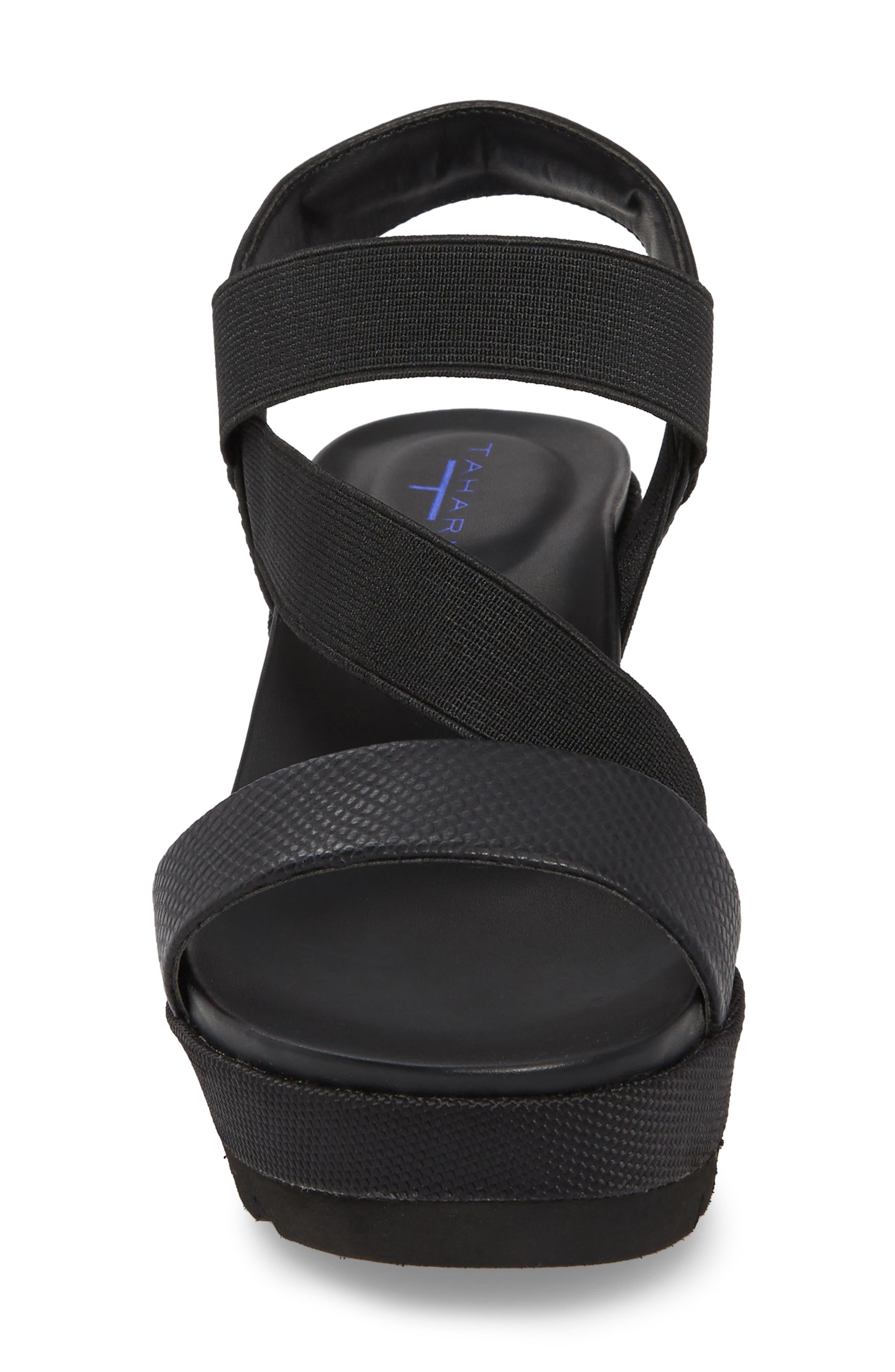 TT-Gabel Sandal,                             Alternate thumbnail 4, color,                             Black Leather