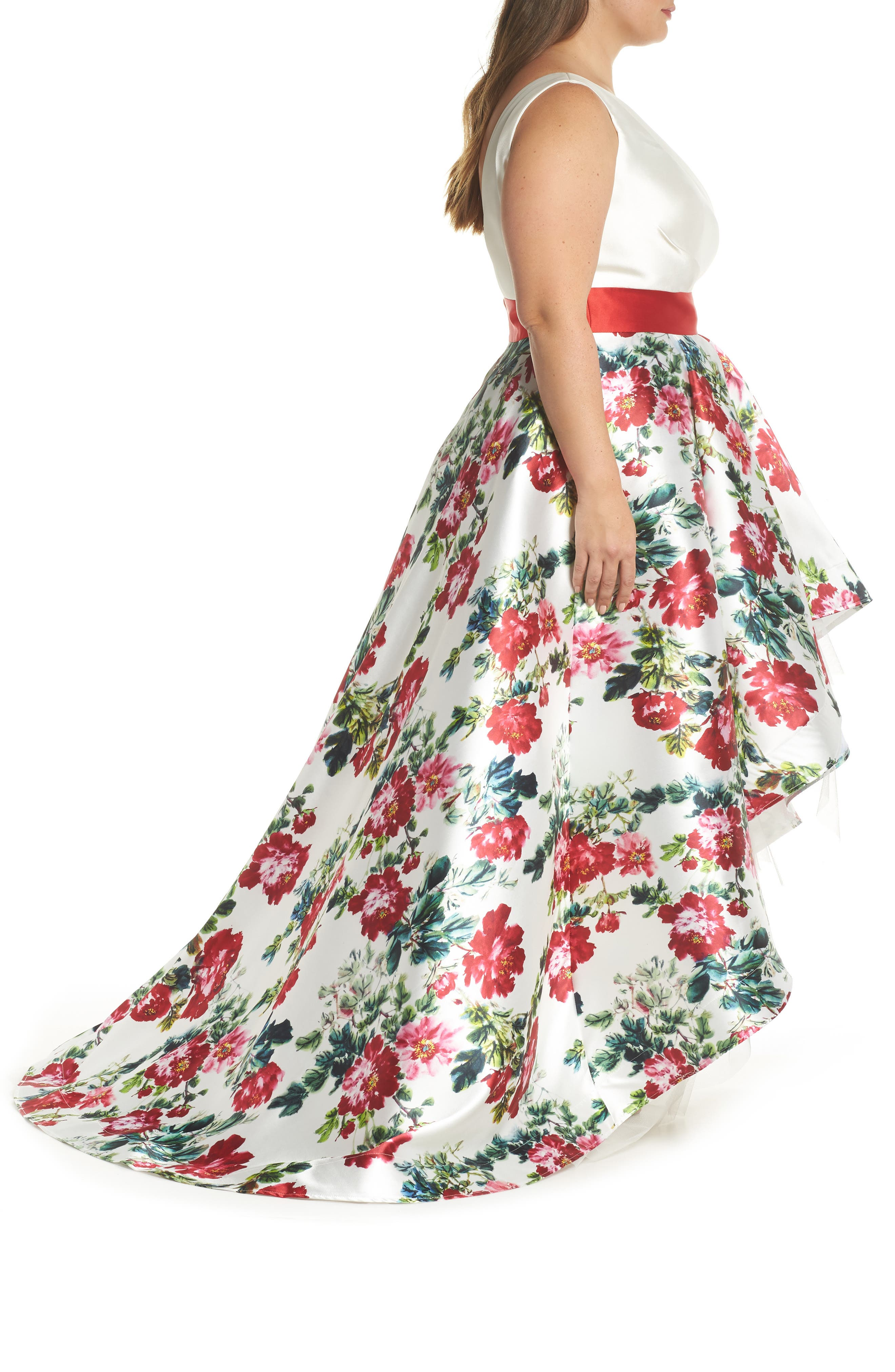 One-Shoulder High/Low Gown,                             Alternate thumbnail 3, color,                             White/ Multi