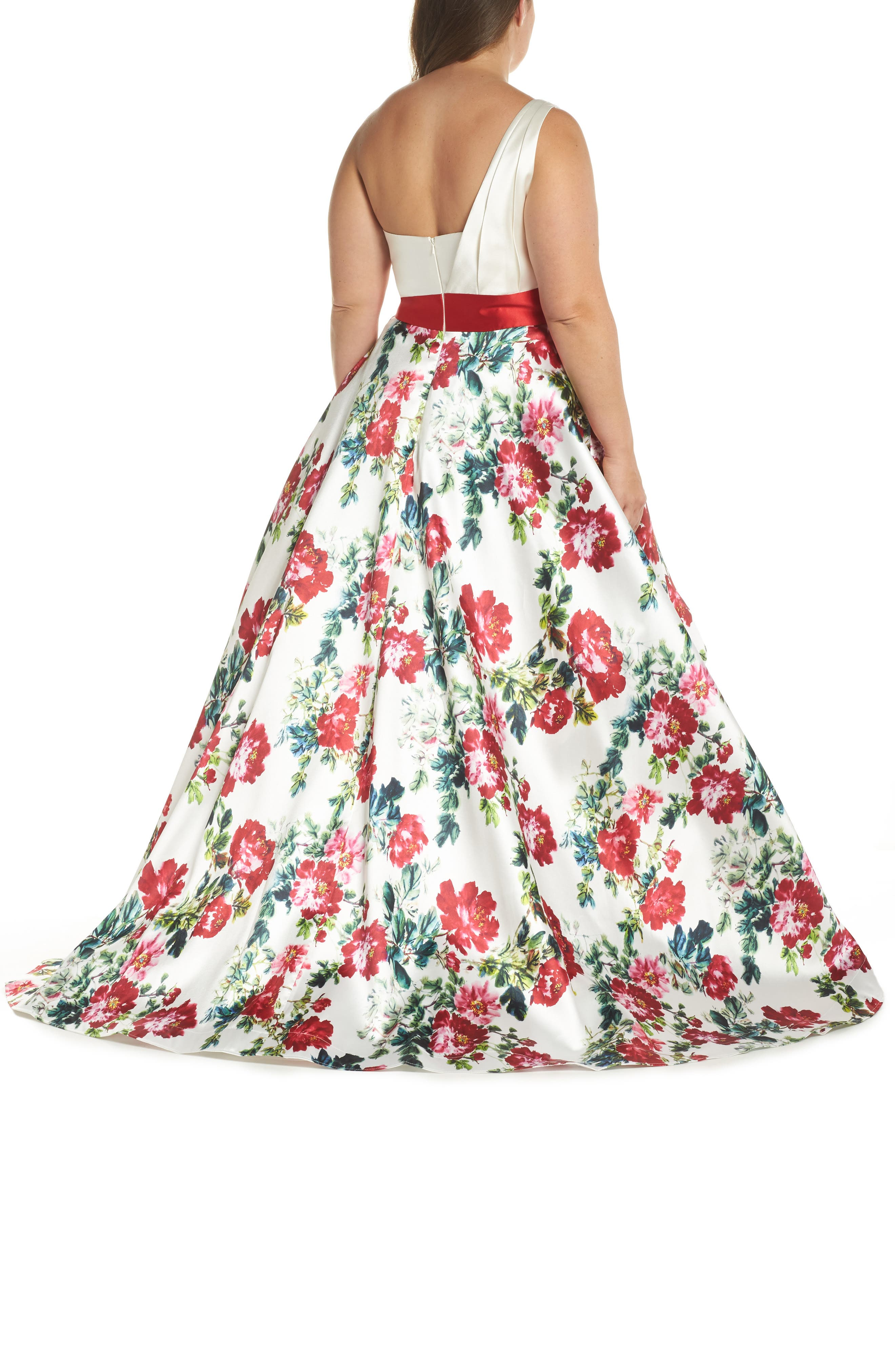 One-Shoulder High/Low Gown,                             Alternate thumbnail 2, color,                             White/ Multi