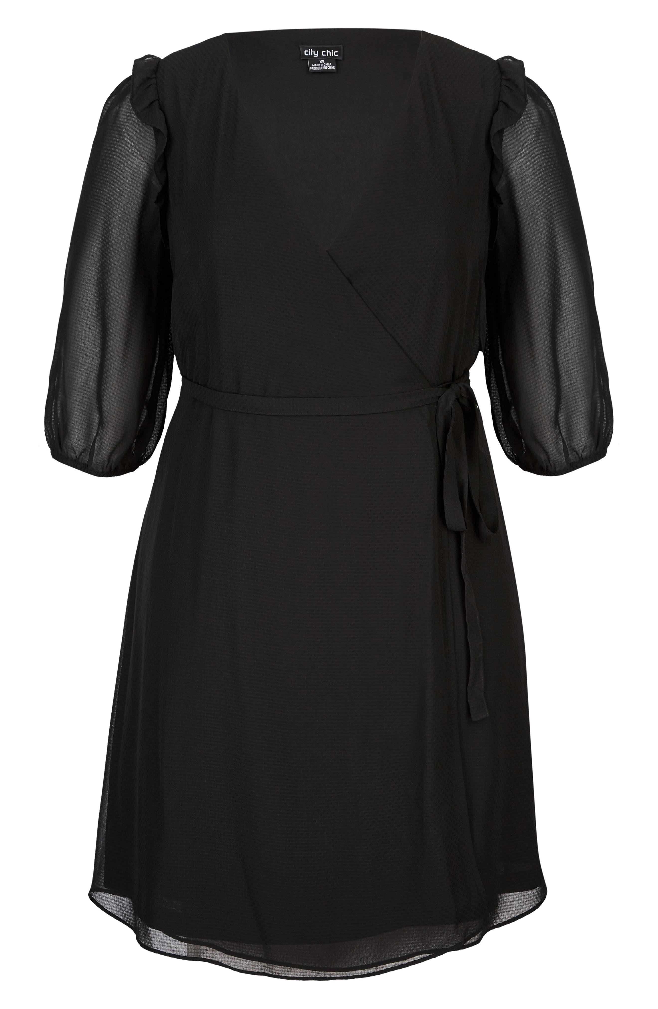 Simply So Wrap Dress,                             Alternate thumbnail 3, color,                             Black