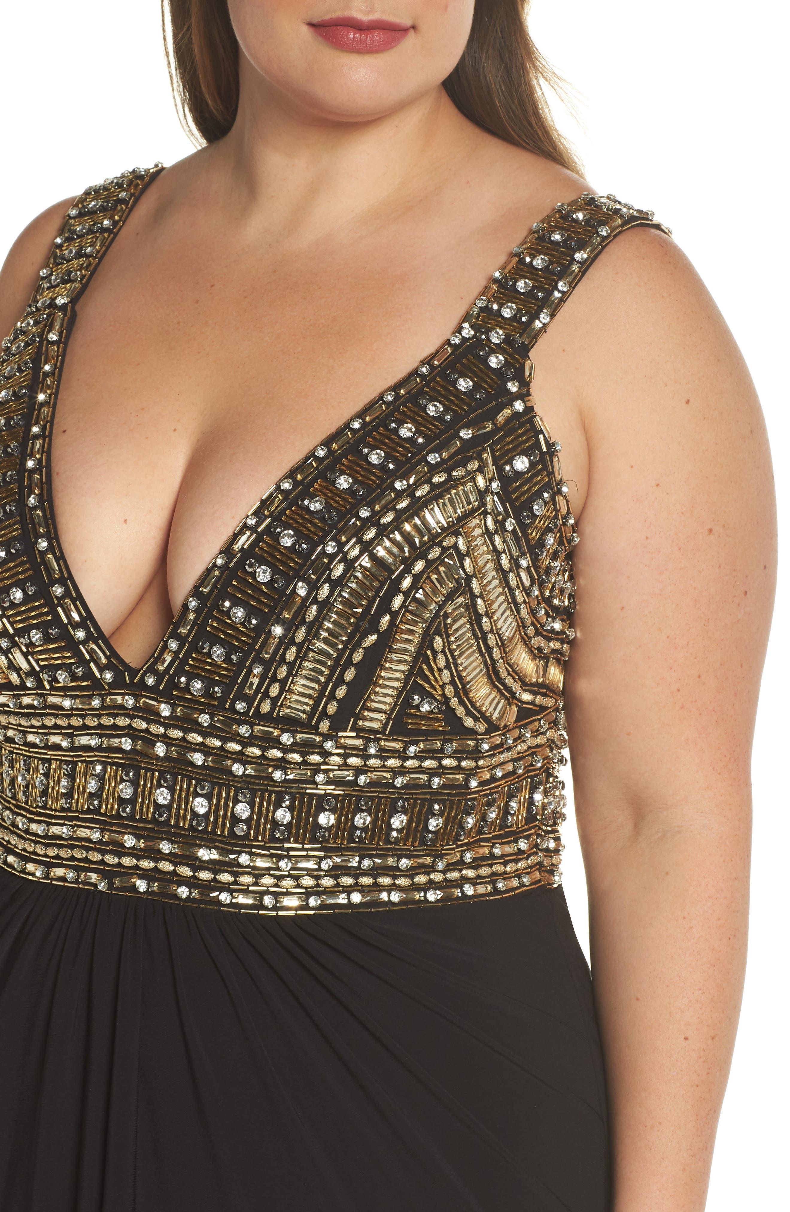 Embellished Gown,                             Alternate thumbnail 4, color,                             Black/ Gold