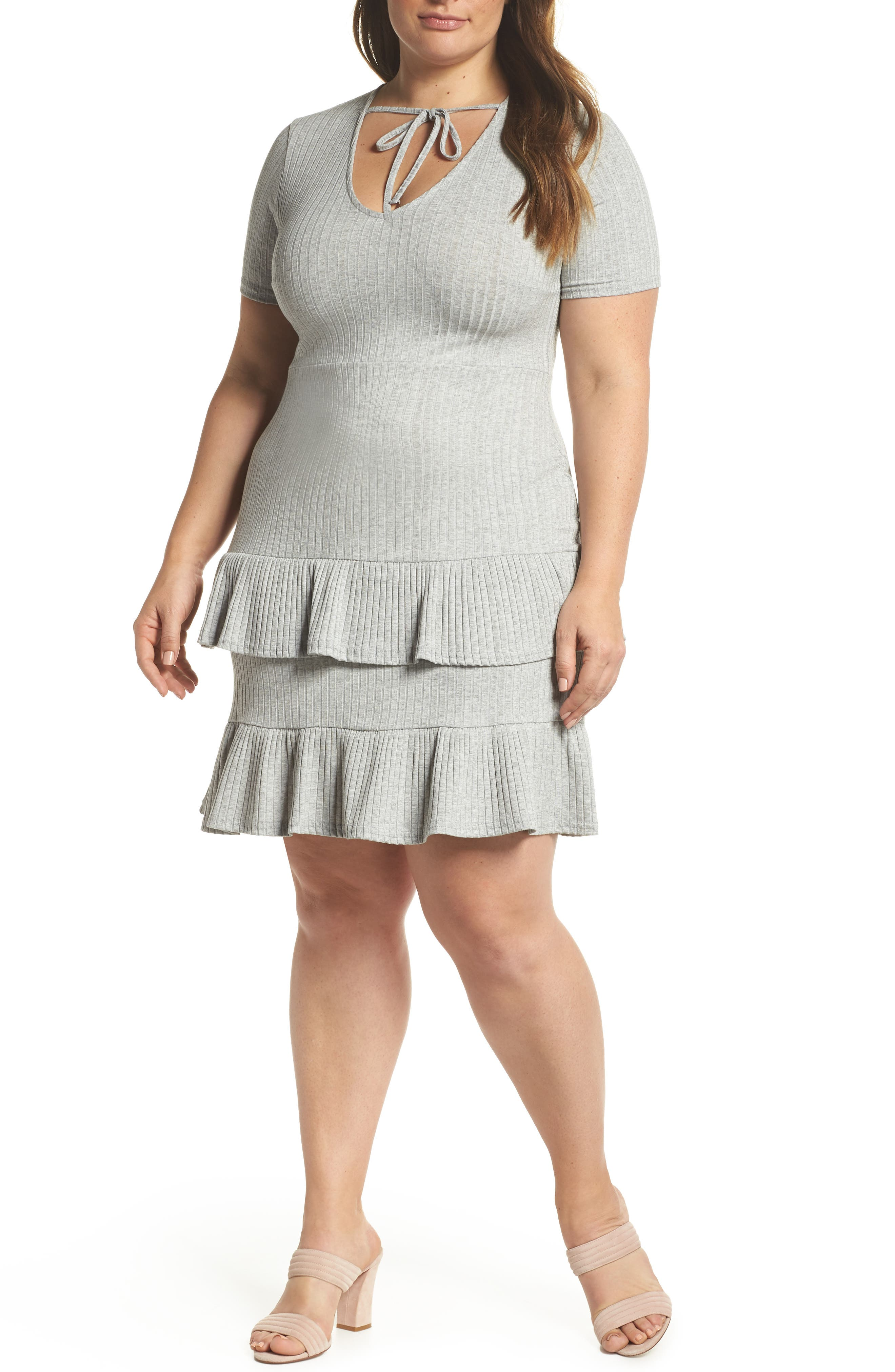 Fit & Flare Ribbed Dress,                         Main,                         color, Grey