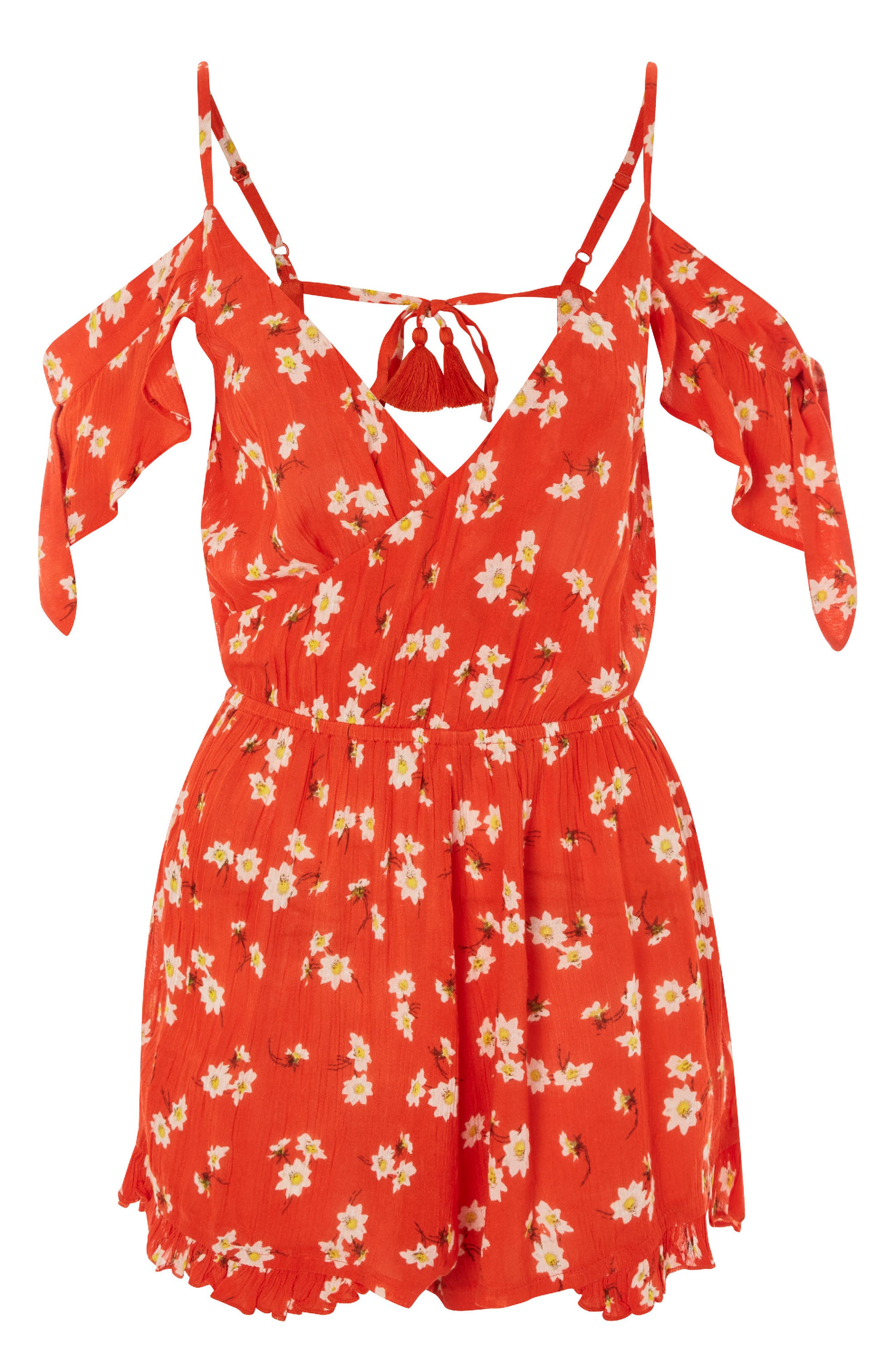 Daisy Floral Print Jumpsuit,                             Alternate thumbnail 3, color,                             Red Multi