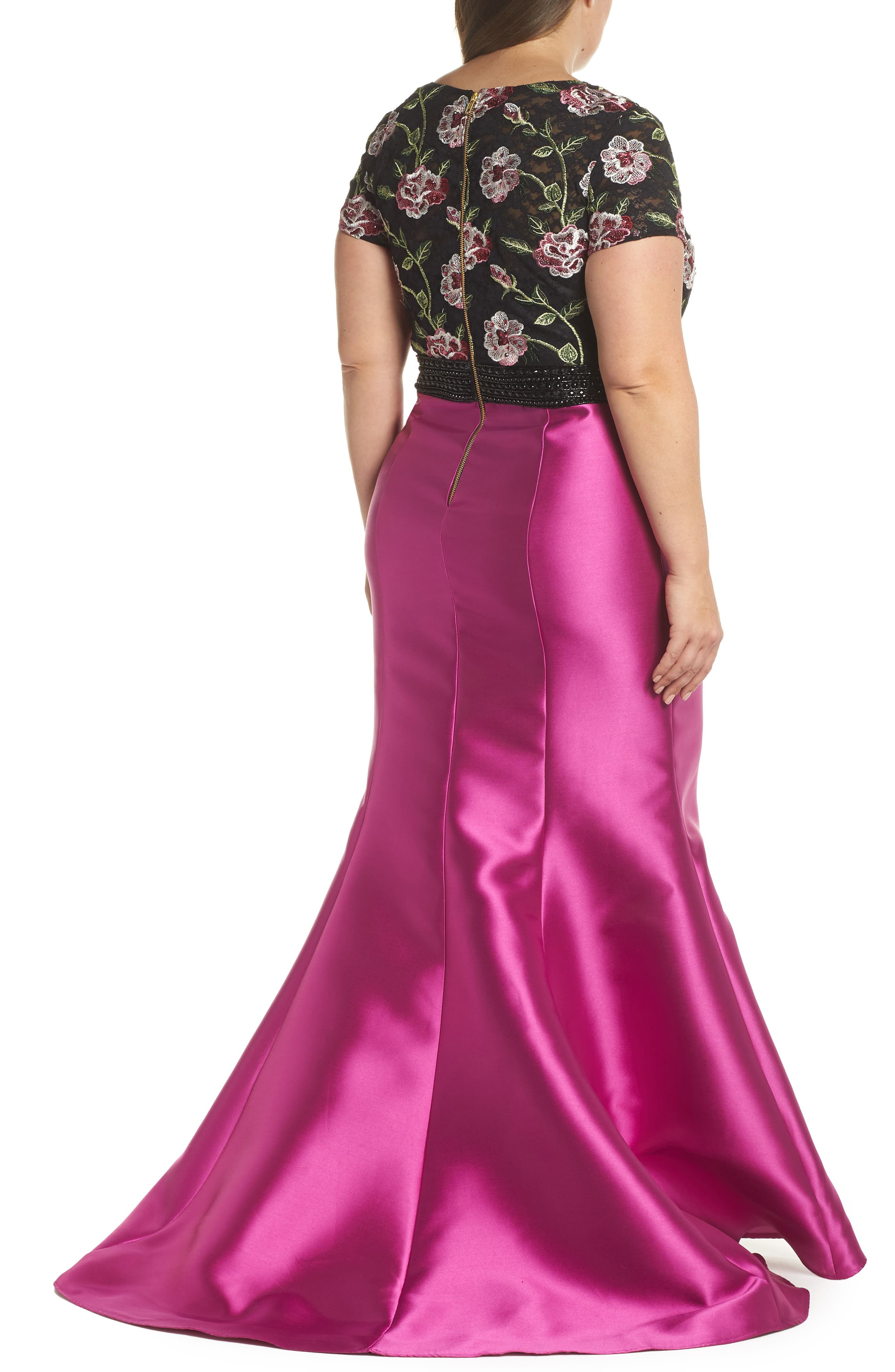 Embroidered Mermaid Gown,                             Alternate thumbnail 2, color,                             Magenta