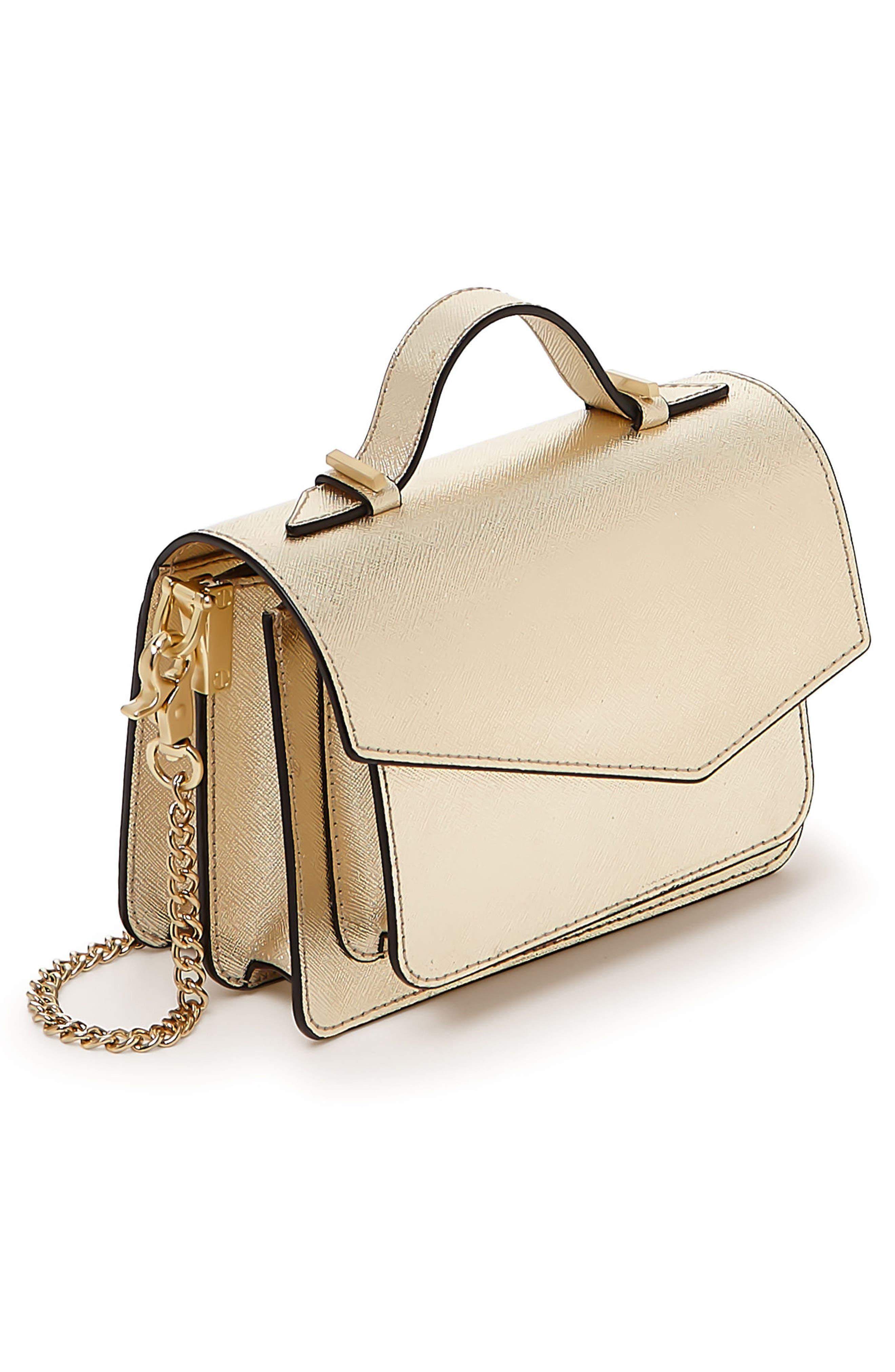 Mini Cobble Hill Calfskin Leather Crossbody Bag,                             Alternate thumbnail 4, color,                             Gold
