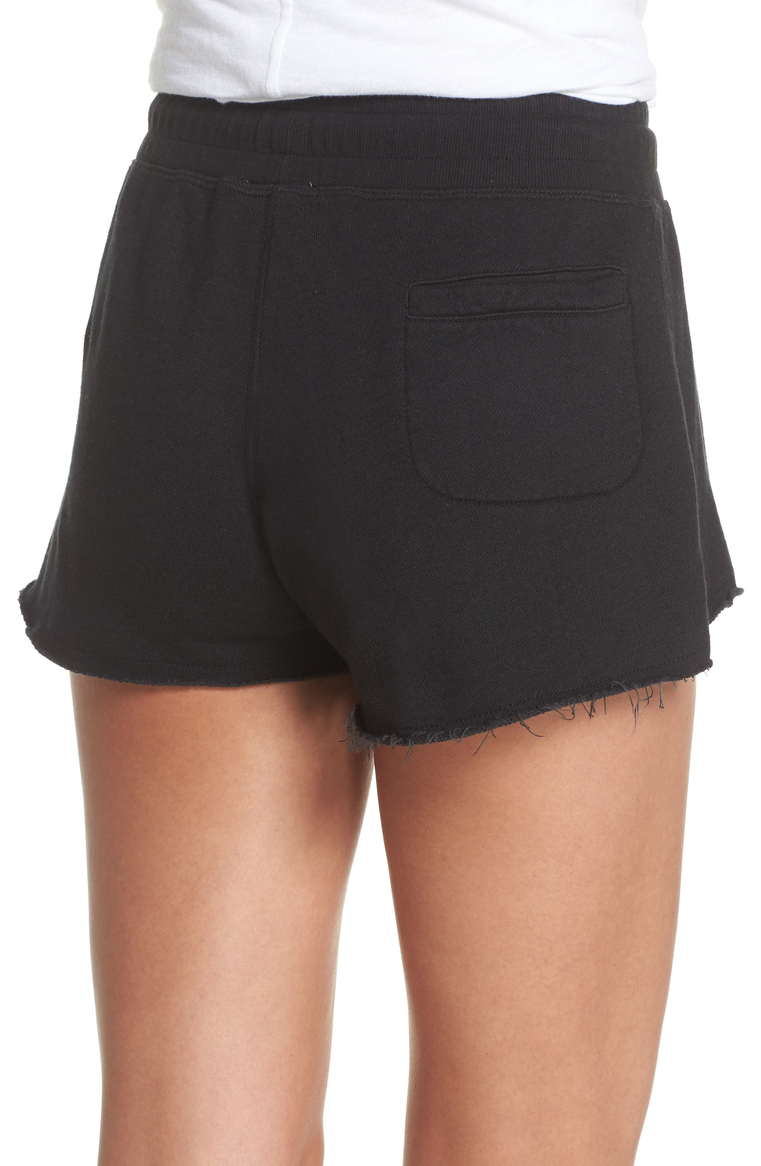 French Terry Sleep Shorts,                             Alternate thumbnail 2, color,                             Faded Black