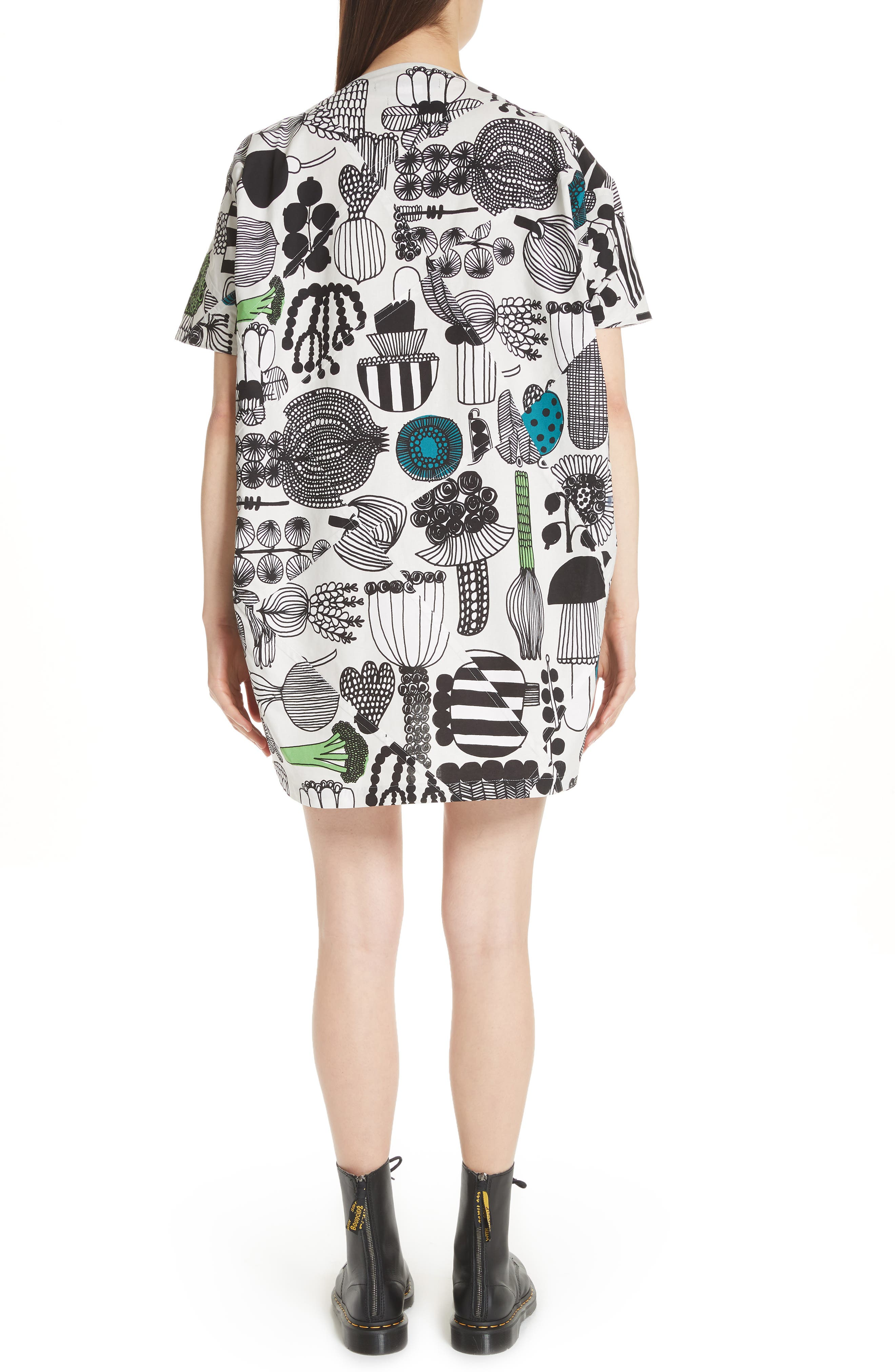 Vegetable Print Dress,                             Alternate thumbnail 2, color,                             Gry/ Grn/ Blk