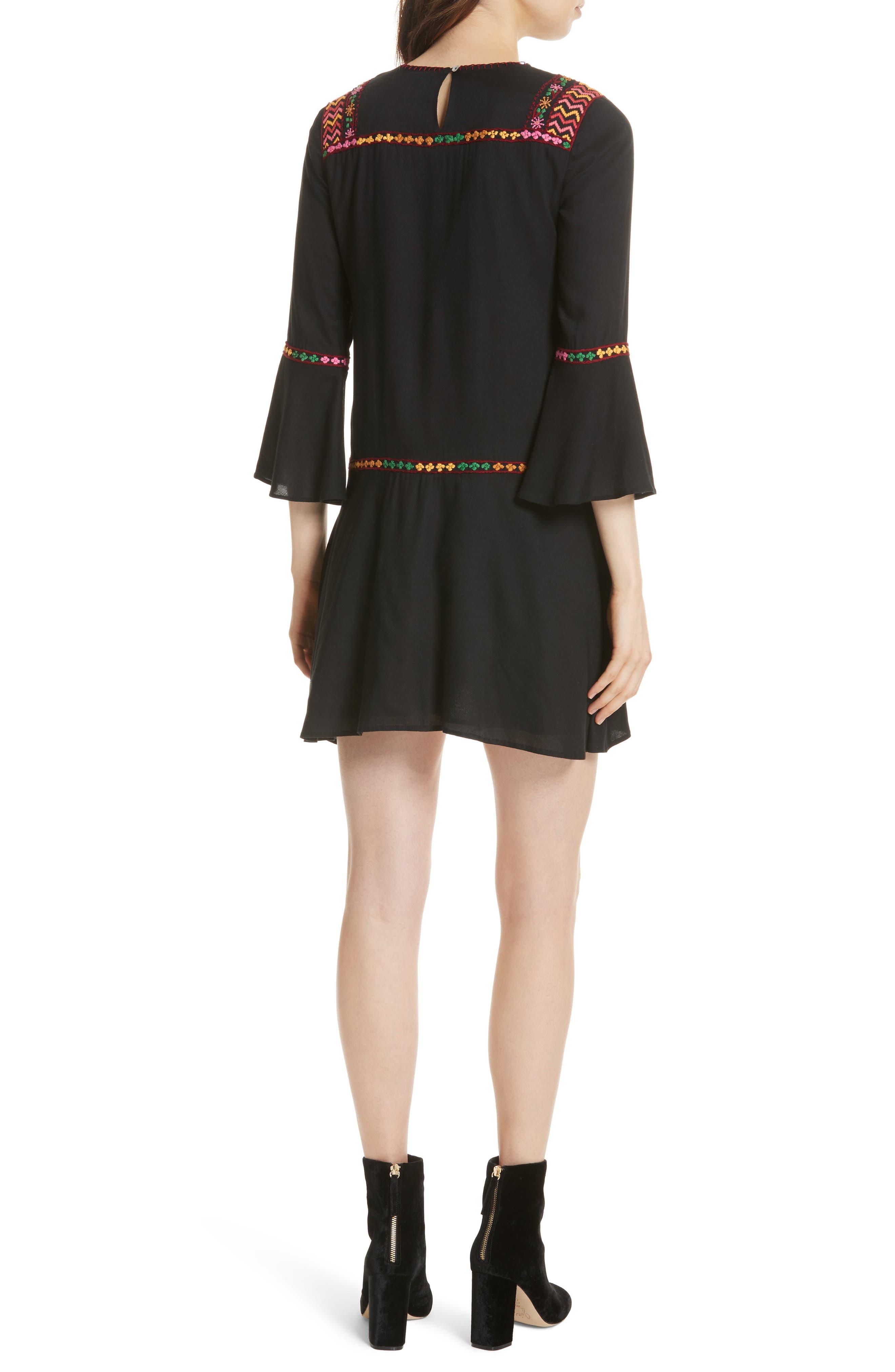 Gosinda Embroidered Dress,                             Alternate thumbnail 2, color,                             Caviar/ Multi