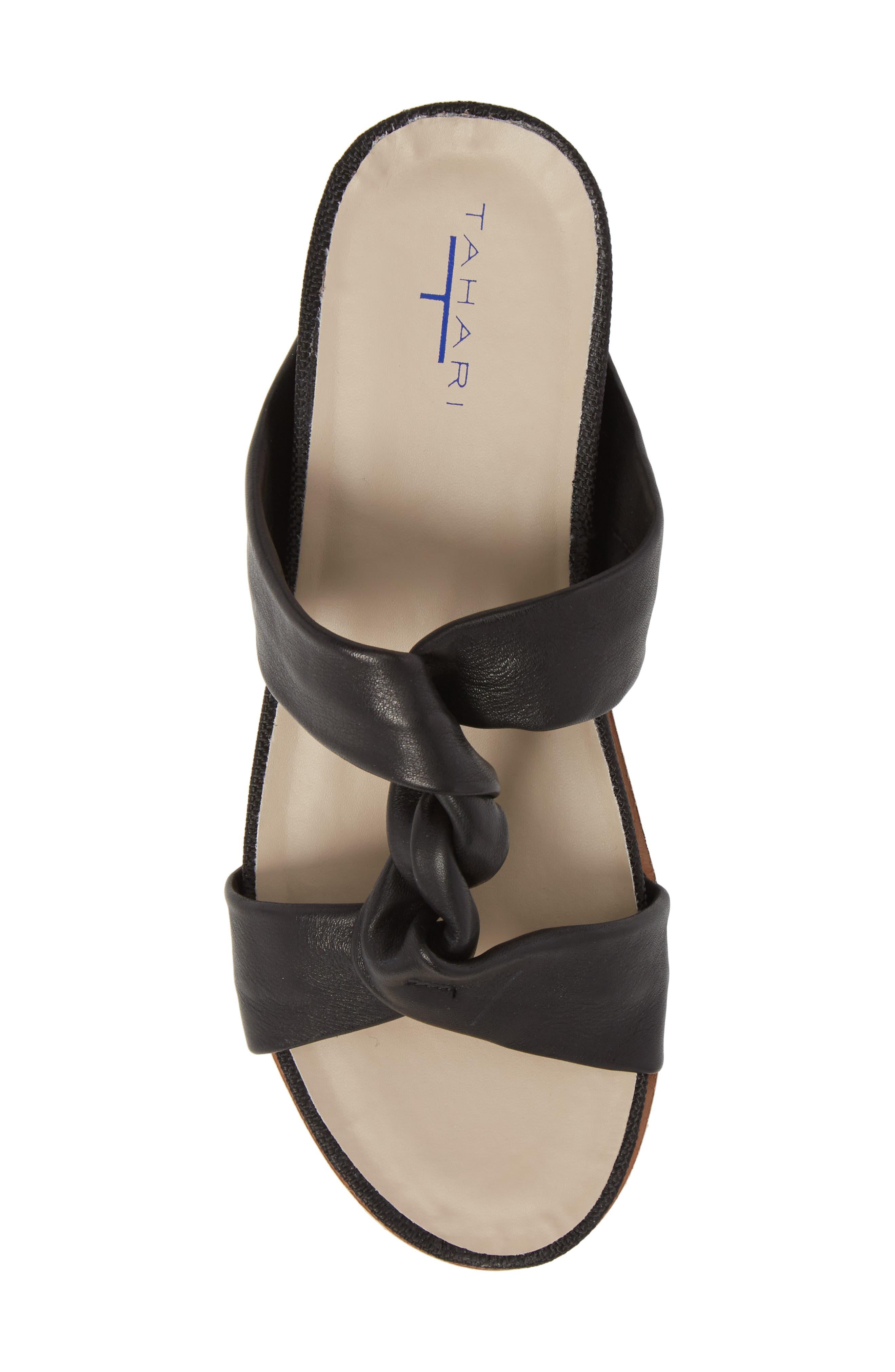 Ginger Slide Sandal,                             Alternate thumbnail 5, color,                             Black Leather