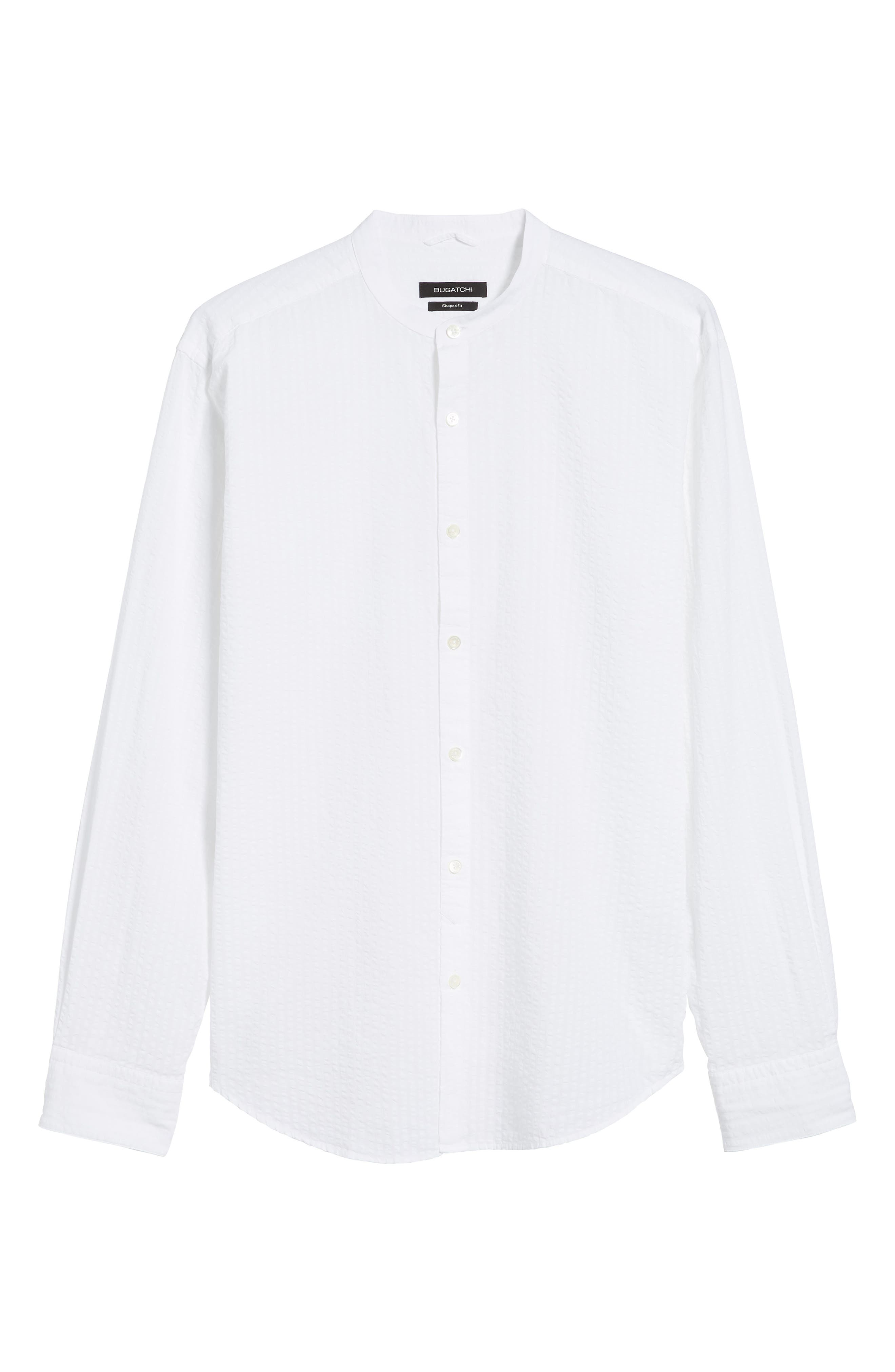 Shaped Fit Band Collar Seersucker Sport Shirt,                             Alternate thumbnail 6, color,                             White