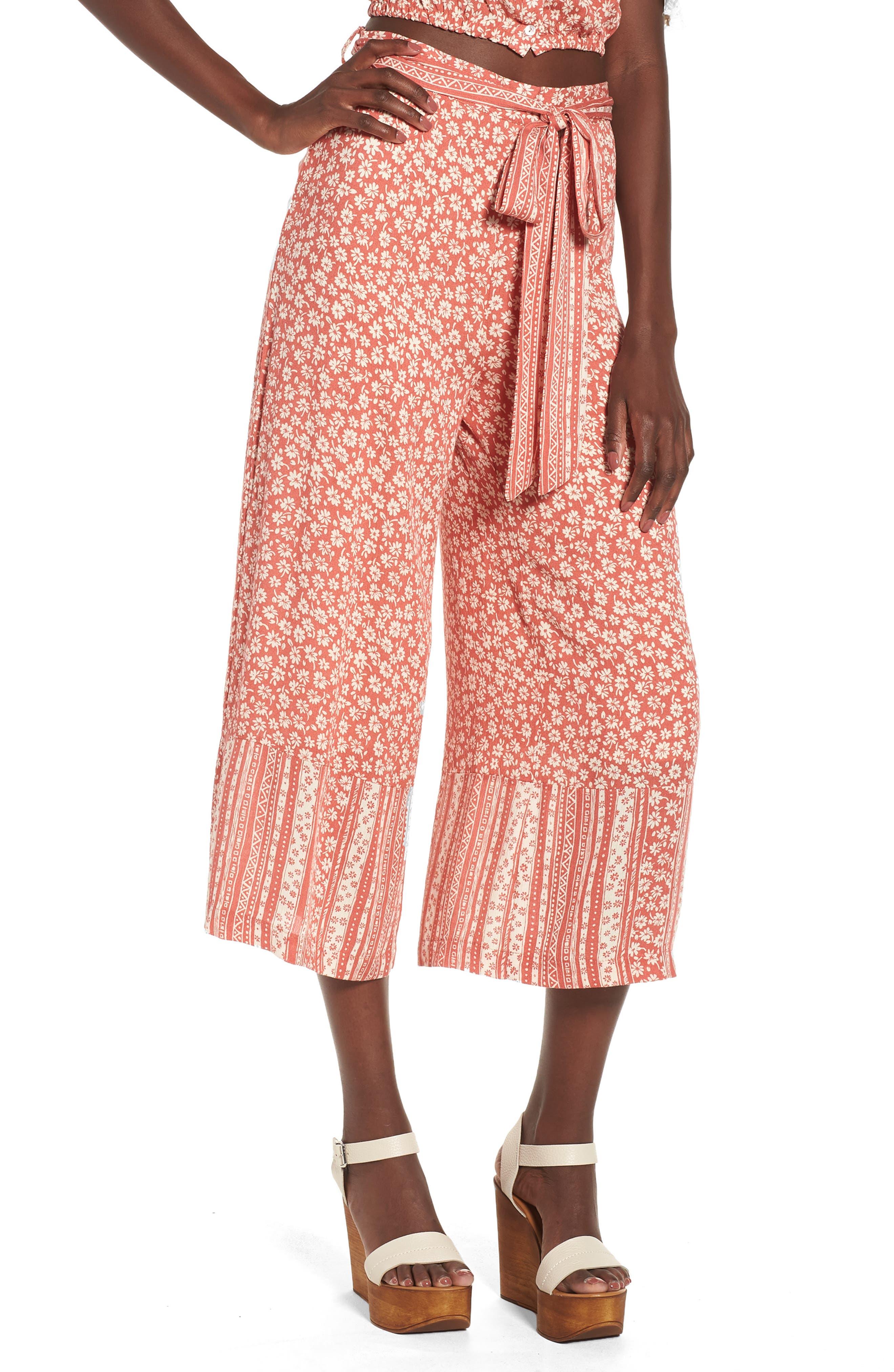 Sun's Out Tie Waist Culottes,                         Main,                         color, Coral